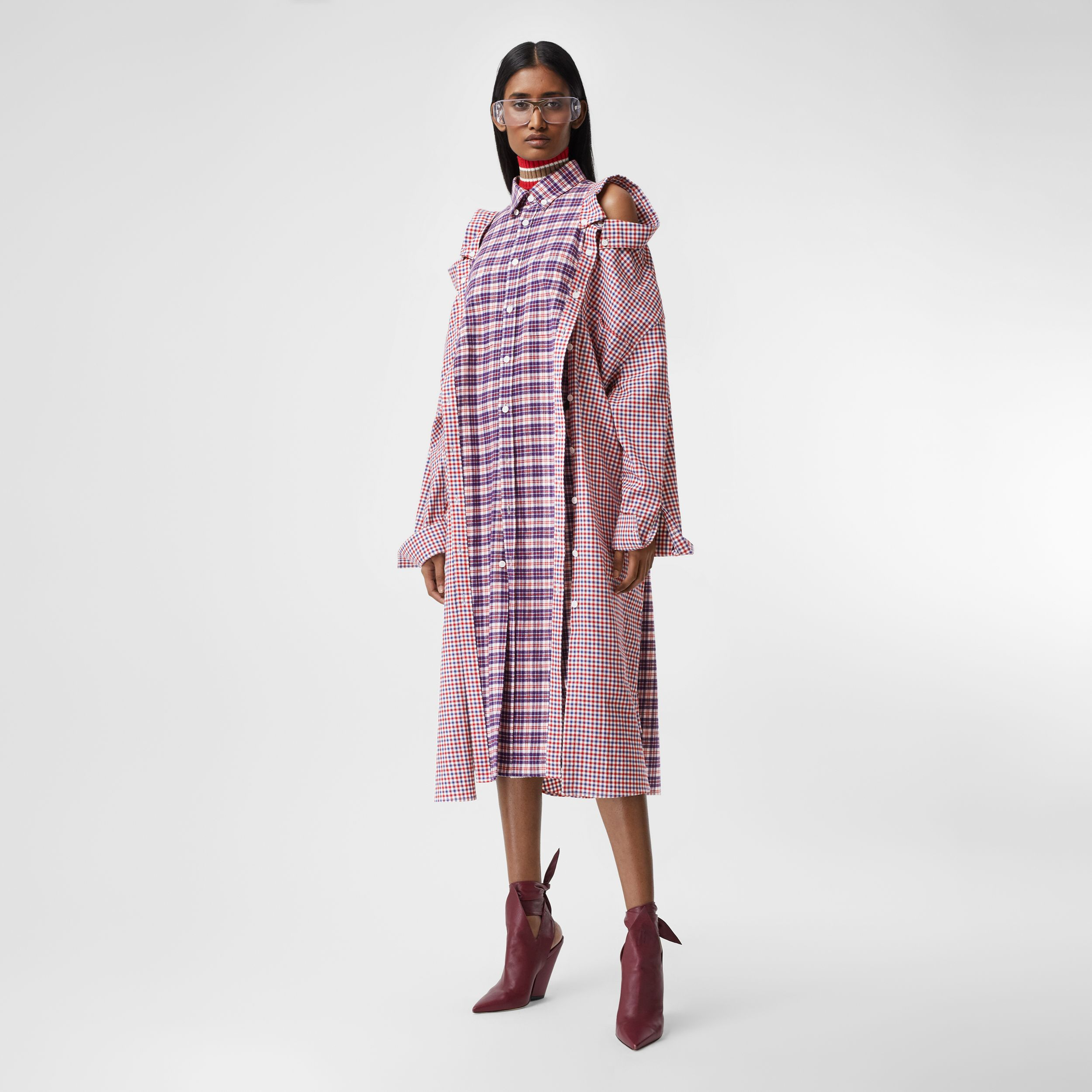 Contrast Check Cotton Reconstructed Shirt Dress in Bright Red - Women | Burberry - 1