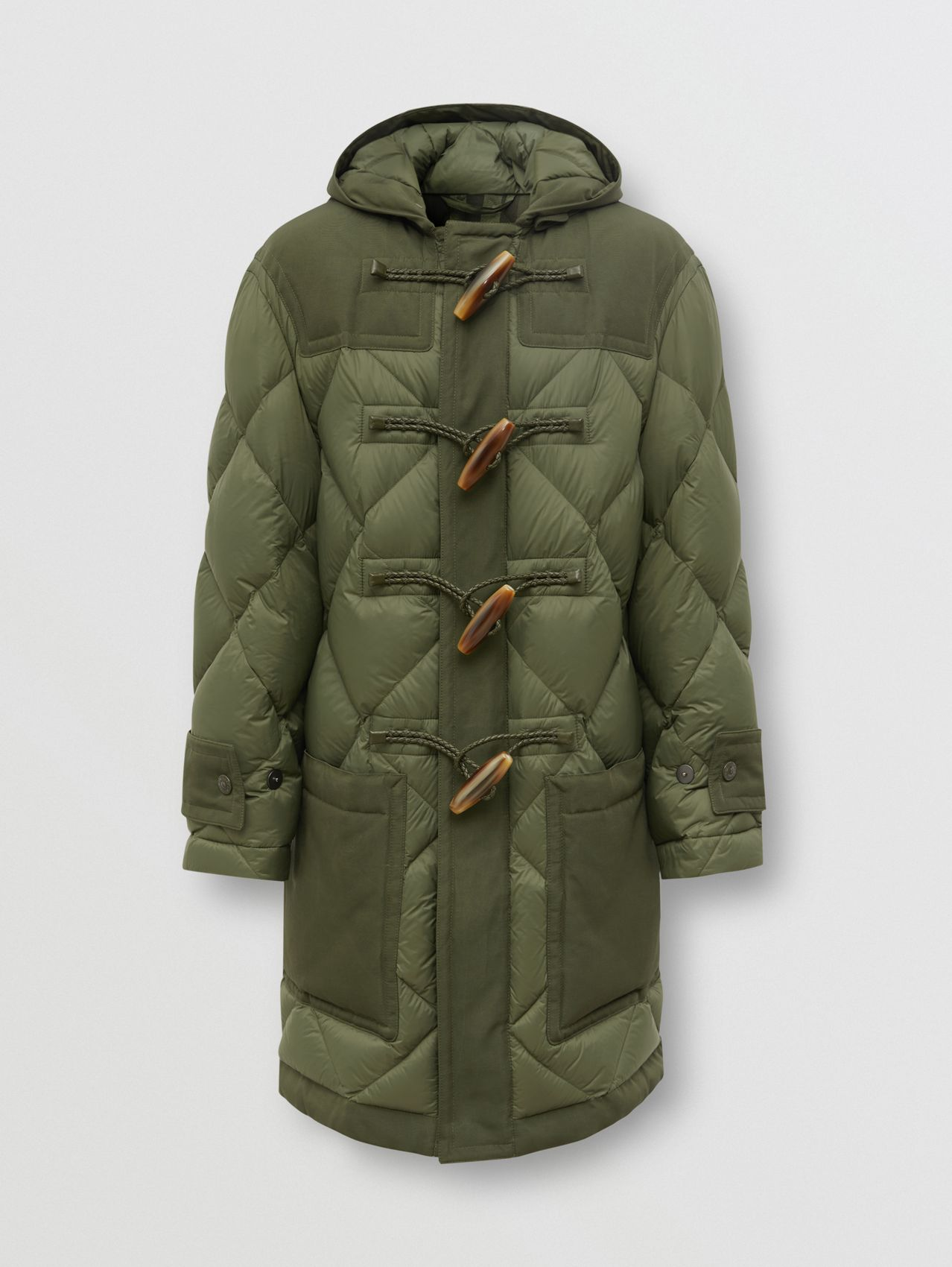 Diamond Quilted Recycled Nylon Duffle Coat in Olive
