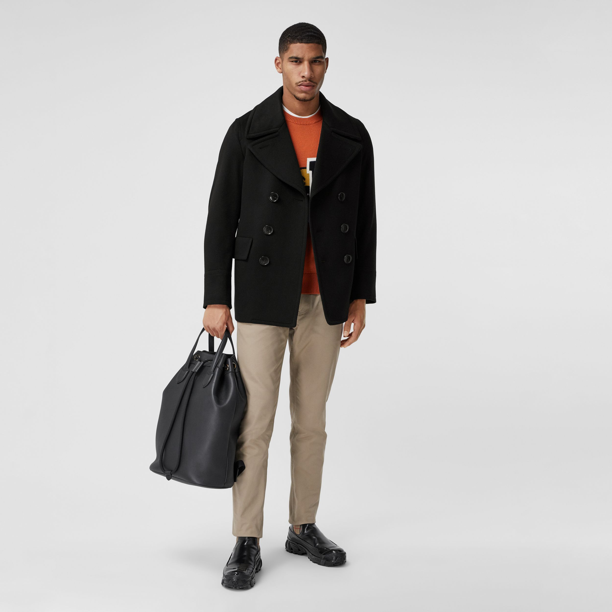 Cashmere Pea Coat in Black - Men | Burberry - 1