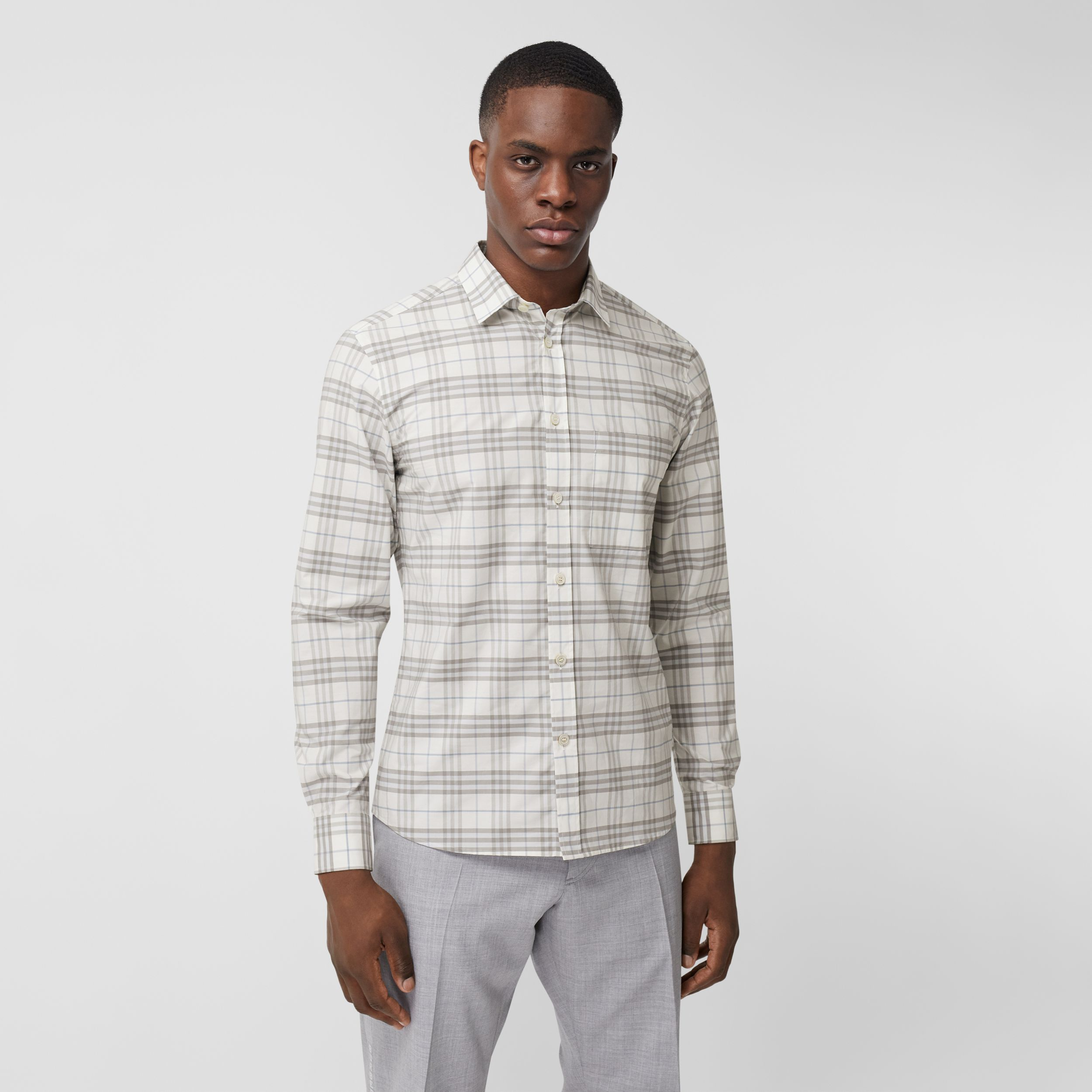 Small Scale Check Stretch Cotton Shirt in Parchment - Men | Burberry - 1