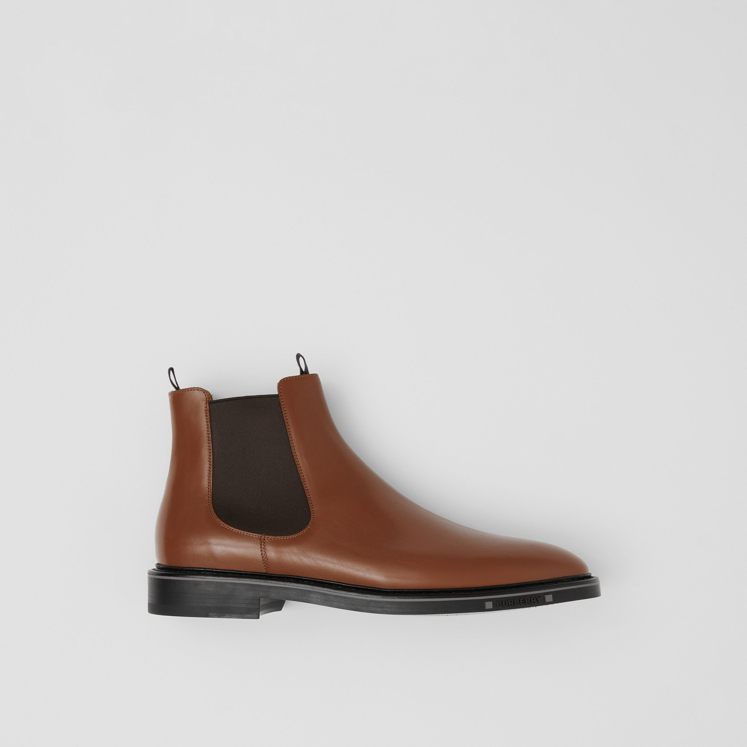 Logo Detail Leather Chelsea Boots in Tan - Men | Burberry Canada - 1
