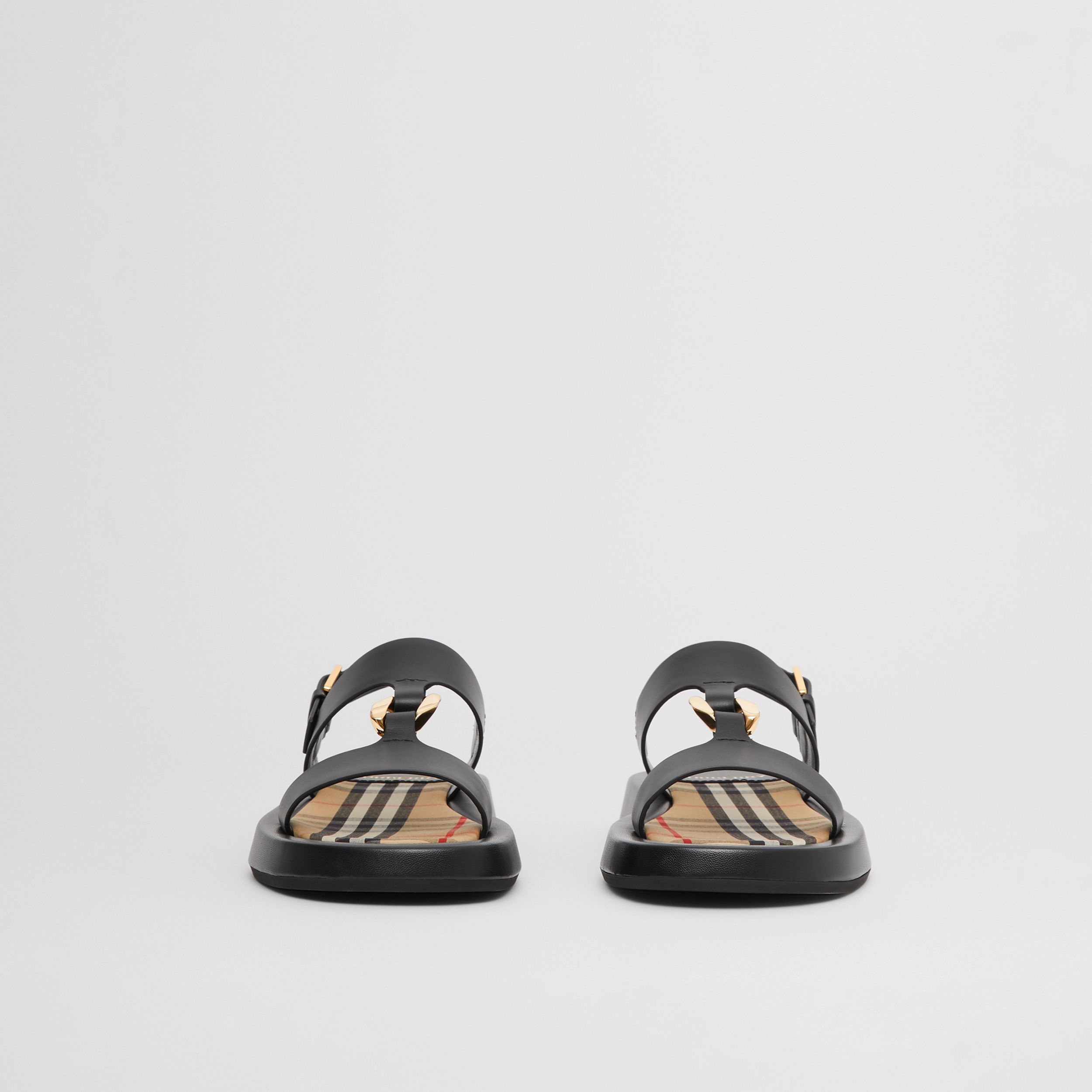 Chain-link Detail Leather Sandals in Black/archive Beige - Women | Burberry - 4