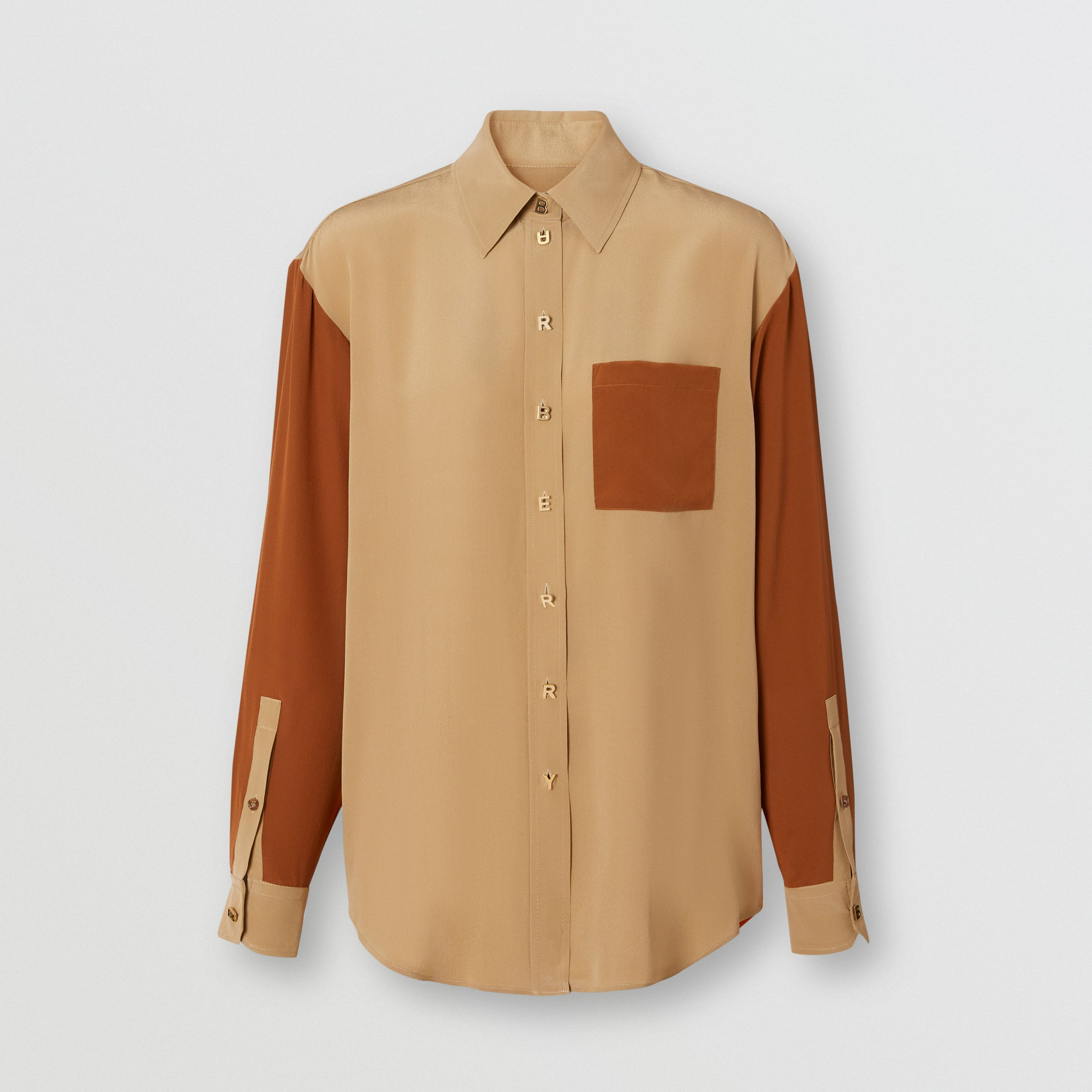 Colour Block Silk Crepe De Chine Shirt in Honey - Women | Burberry - 4