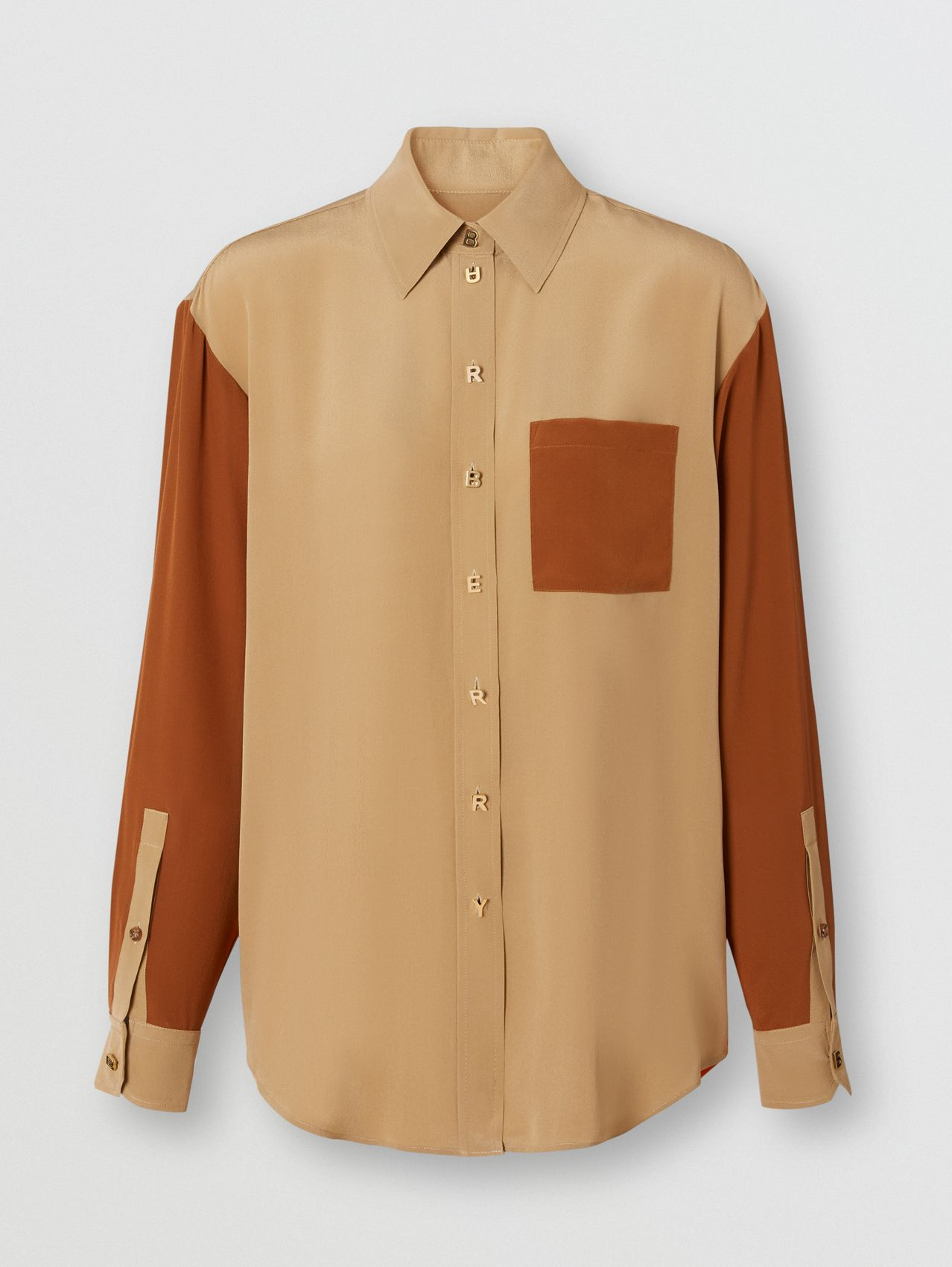 Camisa de crepe de chine de seda em colour block in Mel