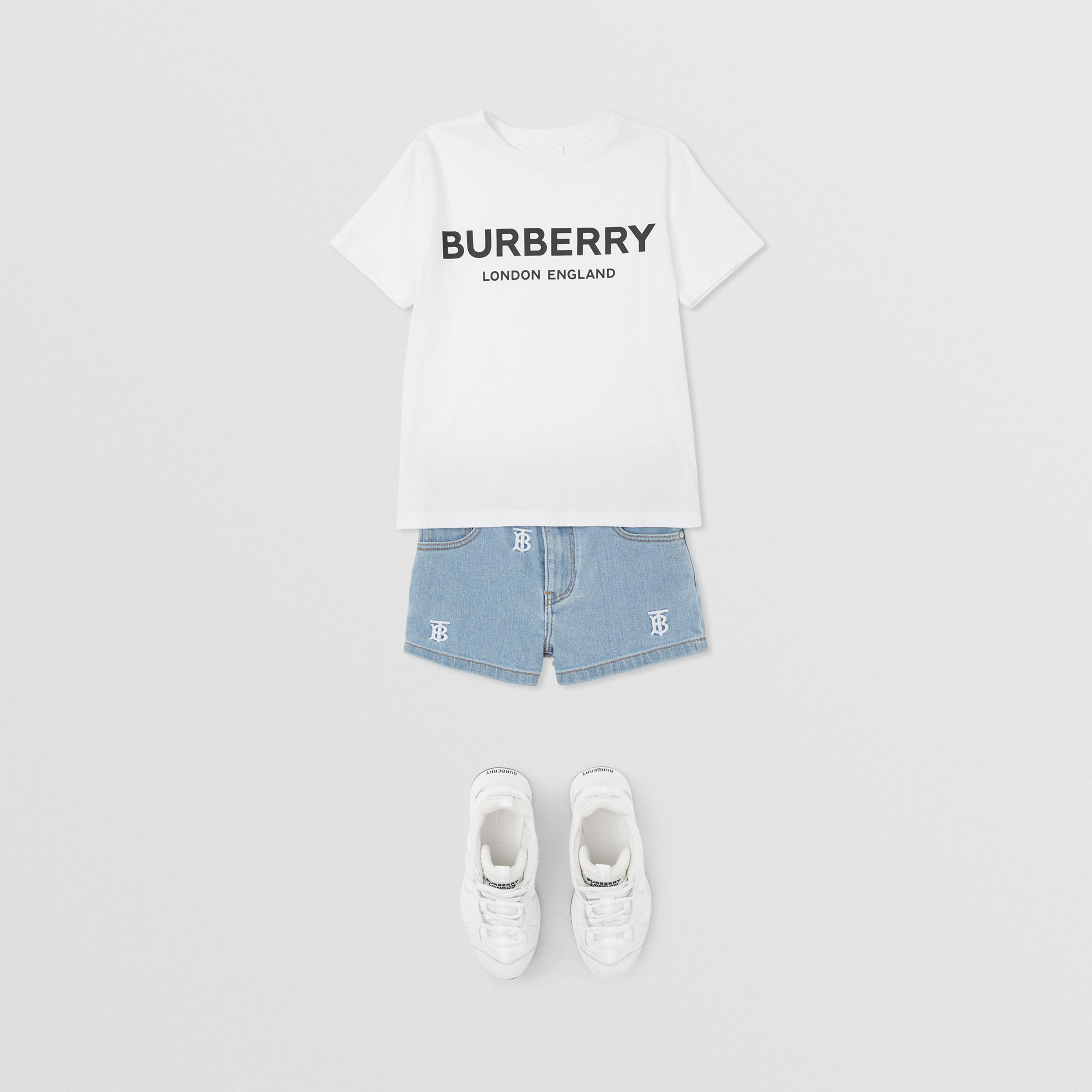 Monogram Motif Stretch Denim Shorts in Pale Blue | Burberry - 3
