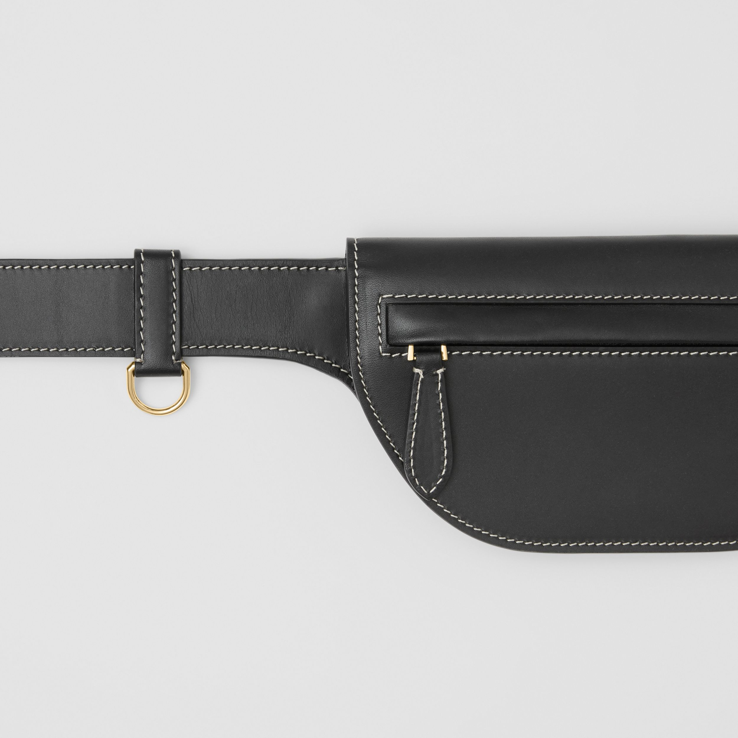 Topstitched Leather Olympia Belt Bag in Black - Women | Burberry United Kingdom - 2