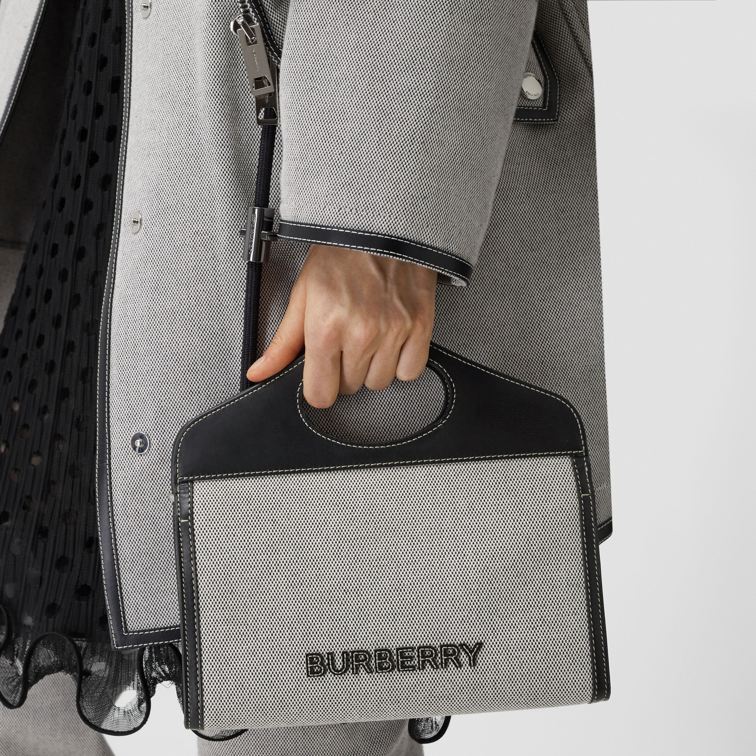 Canvas and Leather Foldover Pocket Bag in Black - Men | Burberry United Kingdom - 3