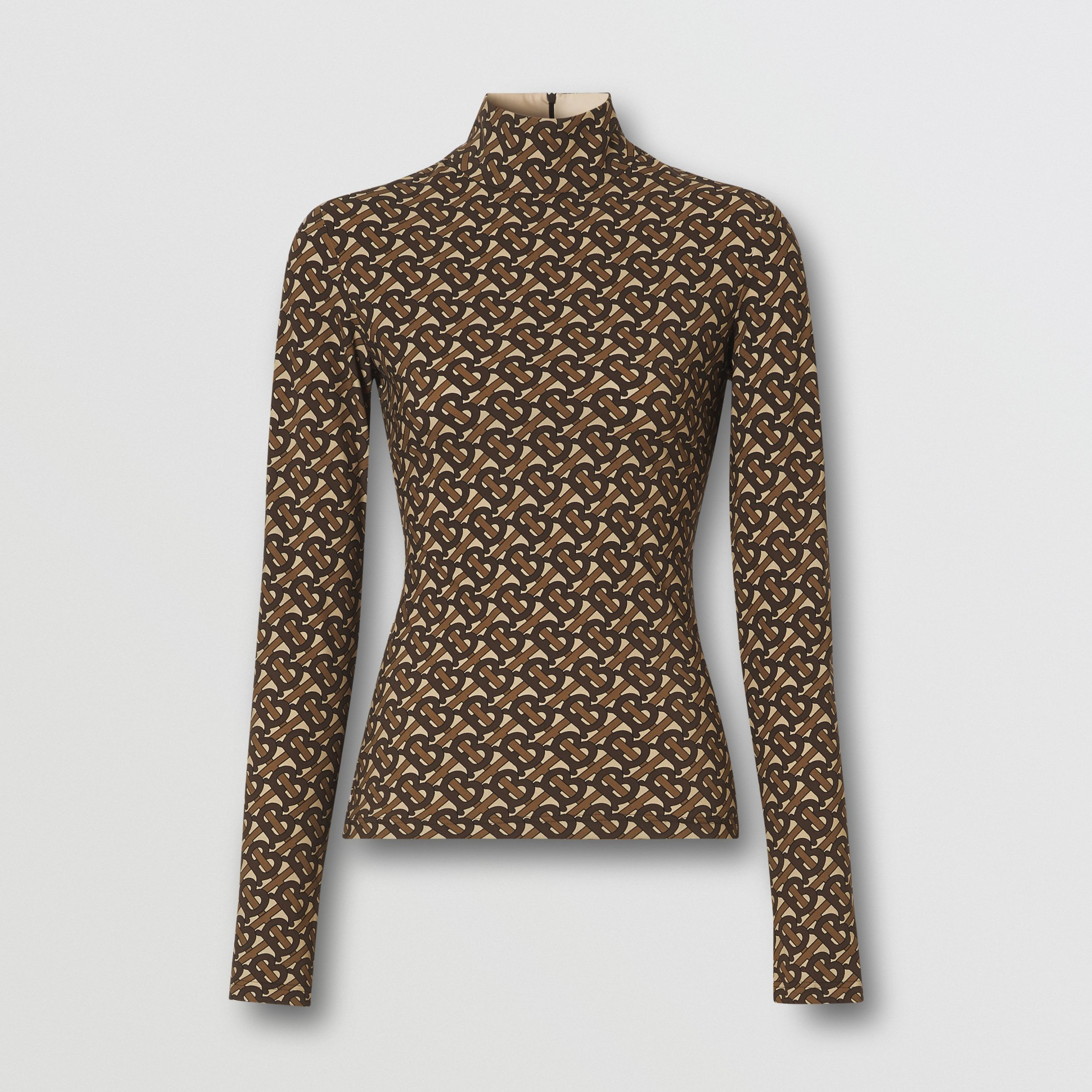 Monogram Print Stretch Nylon Turtleneck Top - Women | Burberry - 4