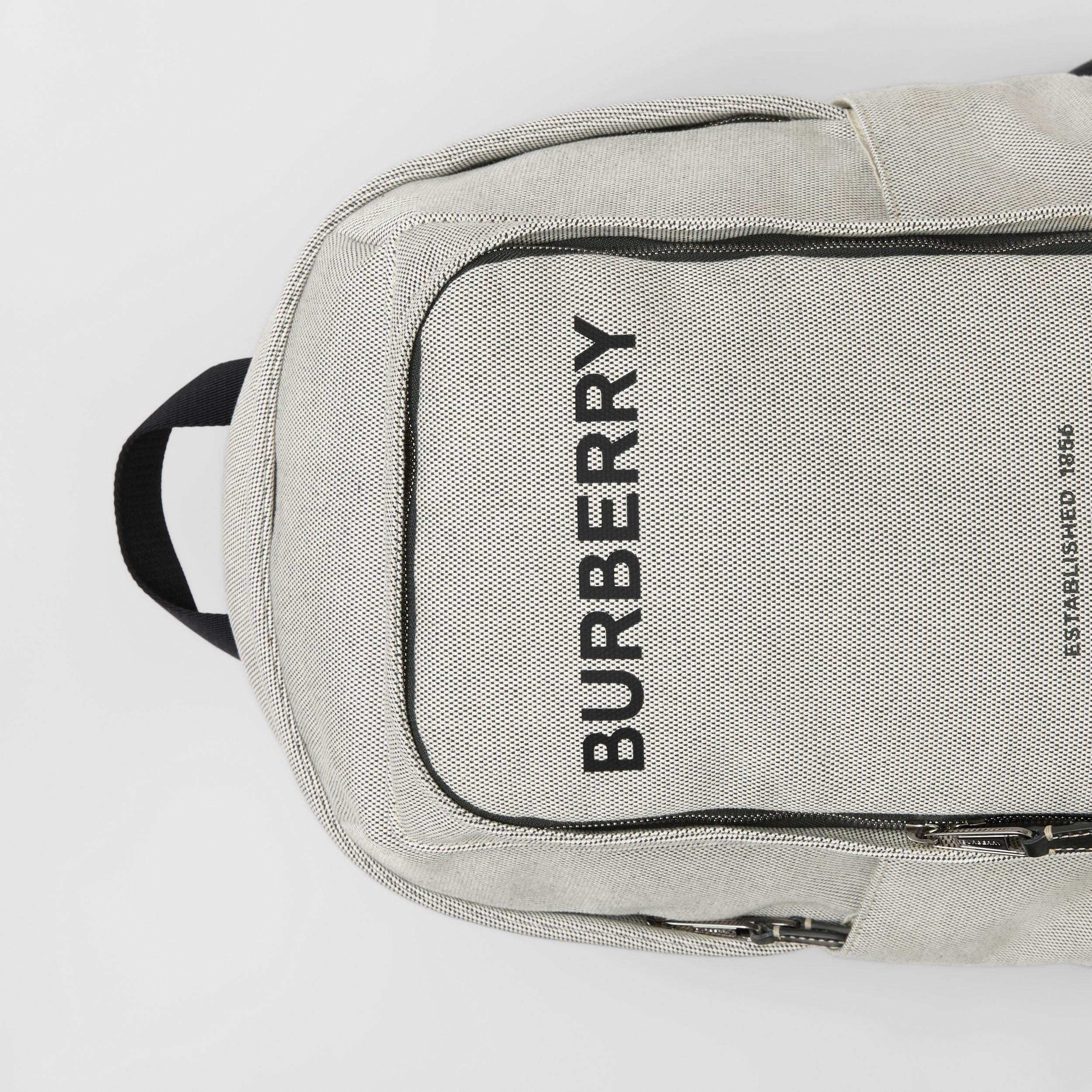 Large Logo Print Cotton Canvas Backpack in Black - Men | Burberry - 2