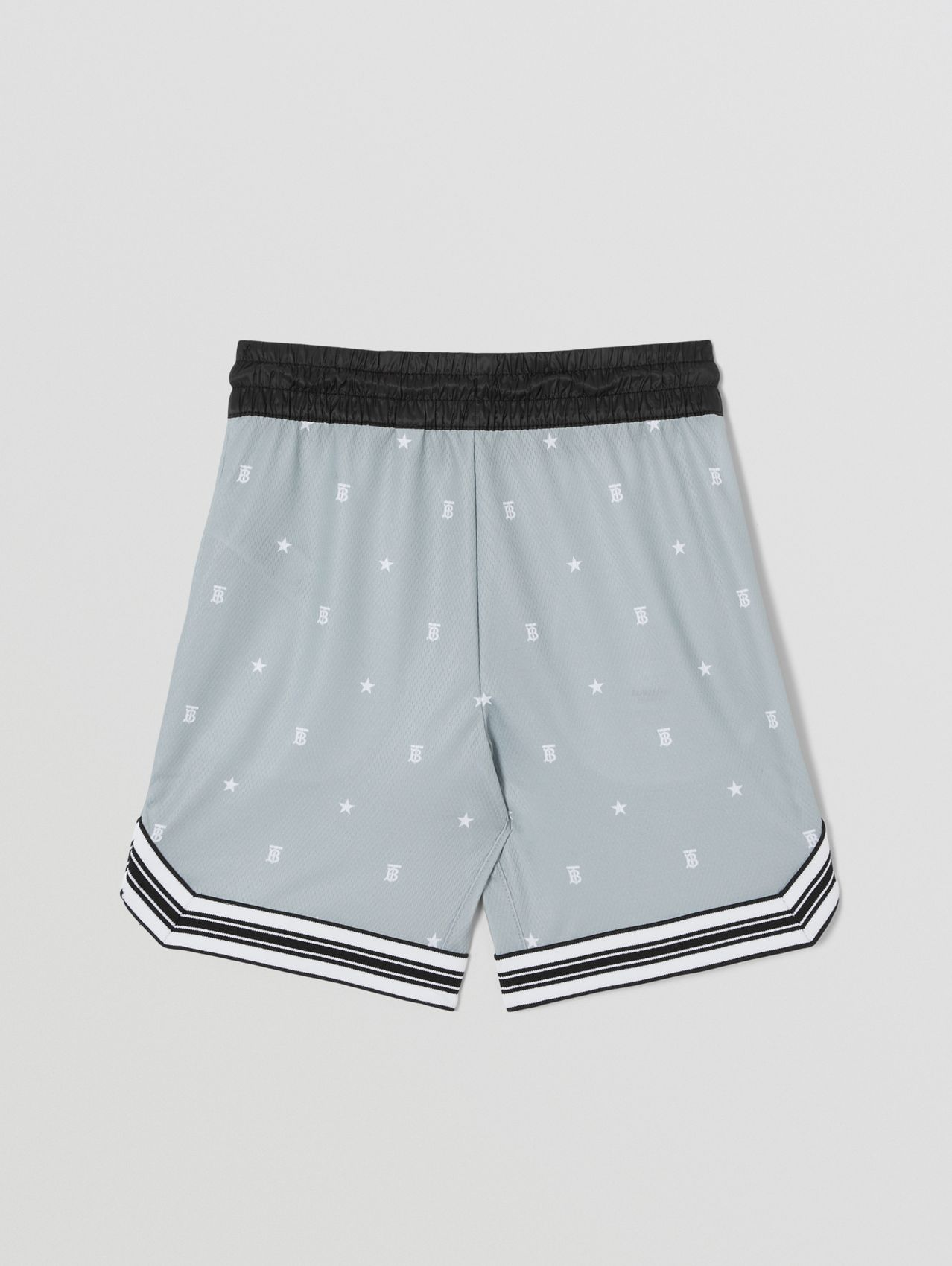 Star and Monogram Motif Jersey Mesh Shorts in Light Grey