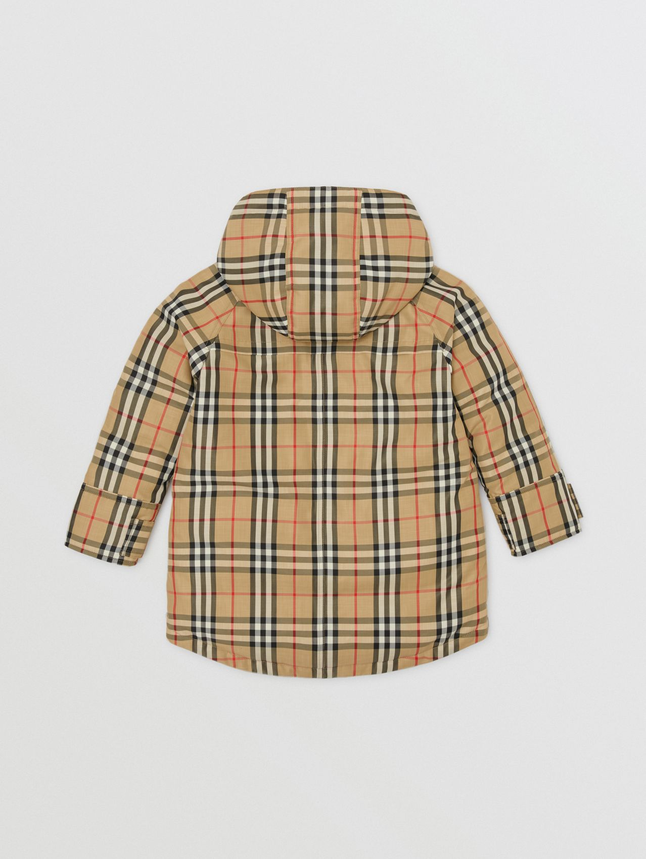 Vintage Check Down-filled Hooded Coat in Archive Beige
