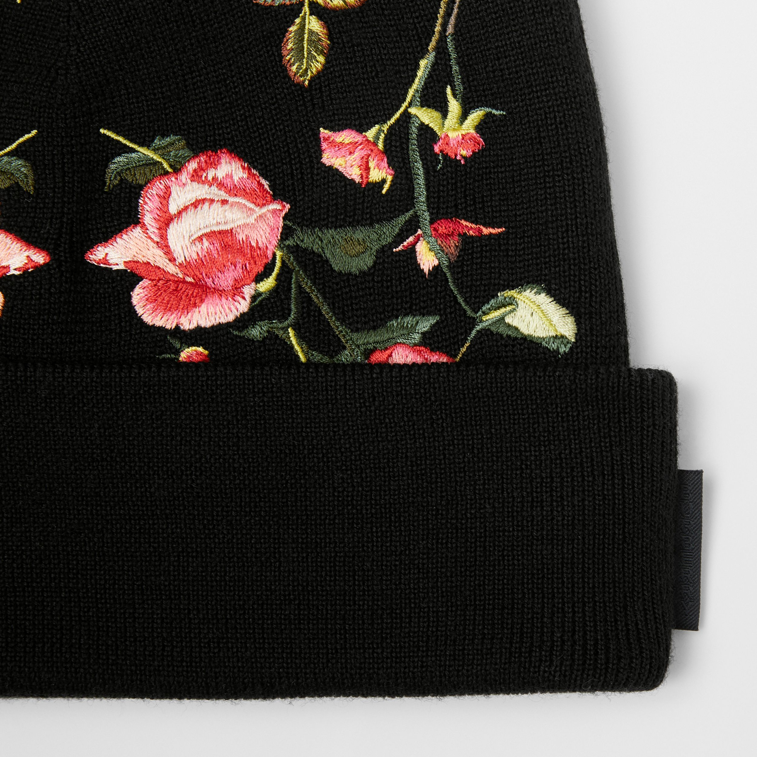 Embroidered Rose Merino Wool Beanie in Black | Burberry - 2