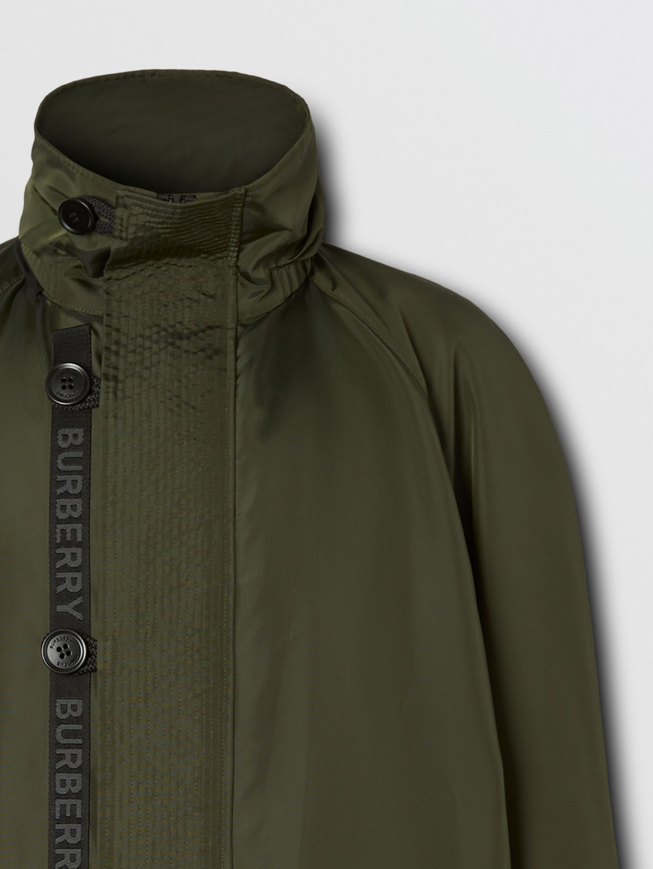 Packaway Hood Logo Tape Nylon Canvas Parka in Dark Olive