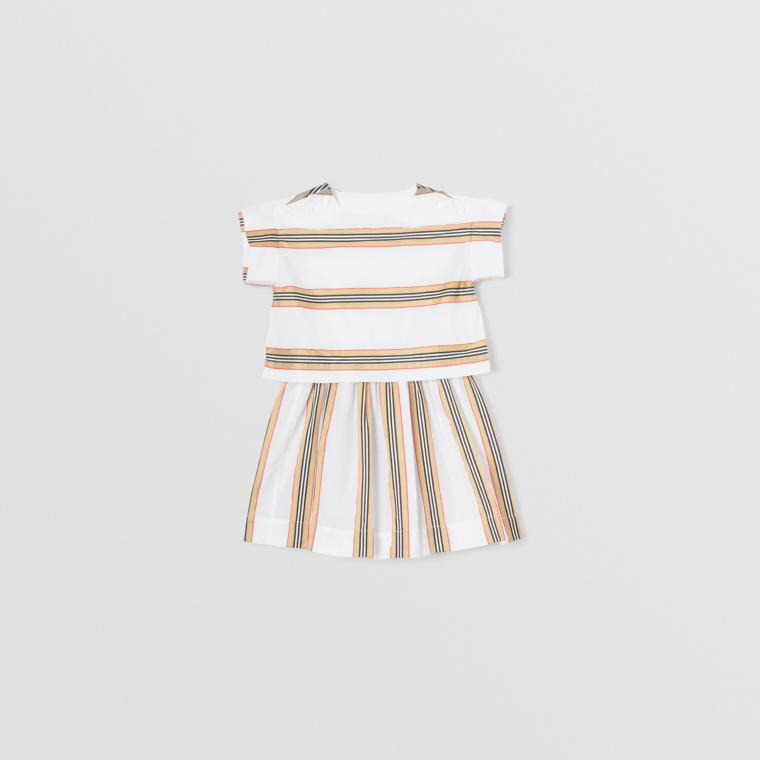 Icon Stripe Cotton Two-piece Set in White | Burberry - 1