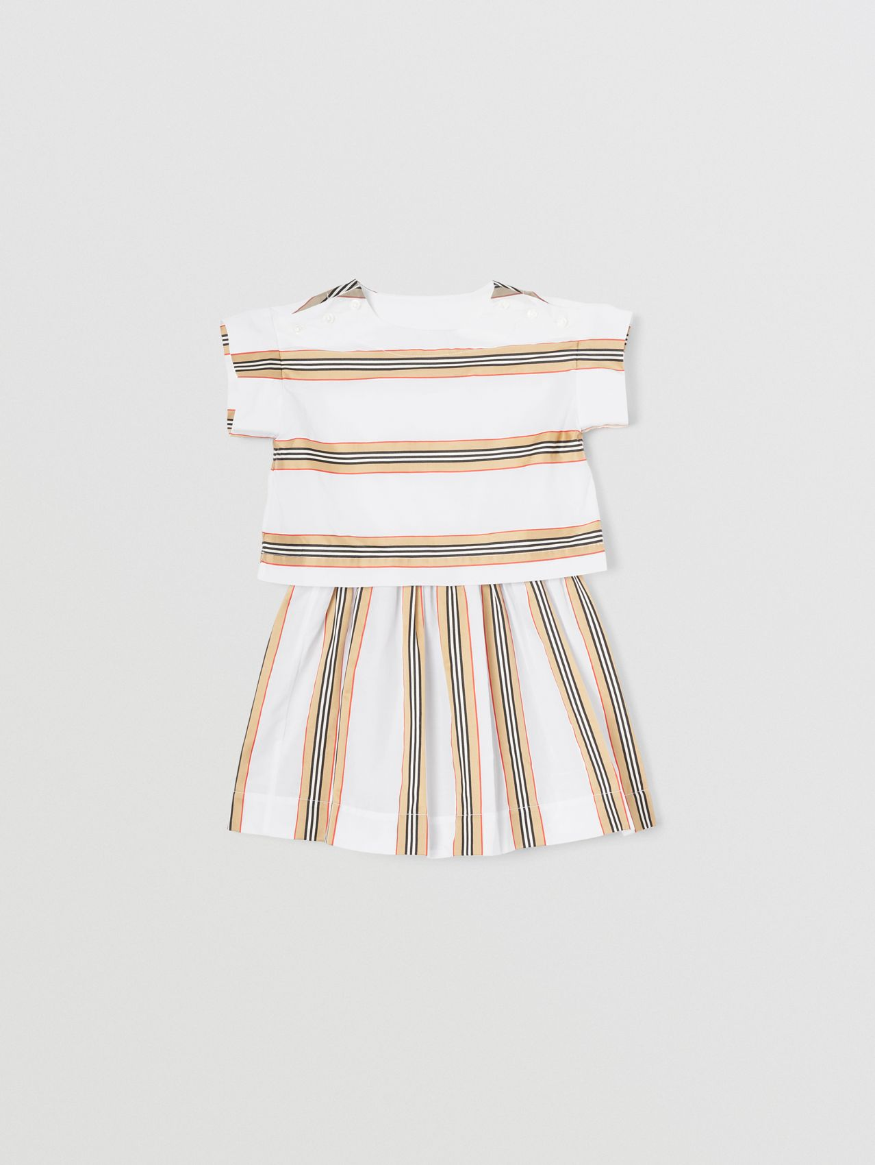 Icon Stripe Cotton Two-piece Set in White