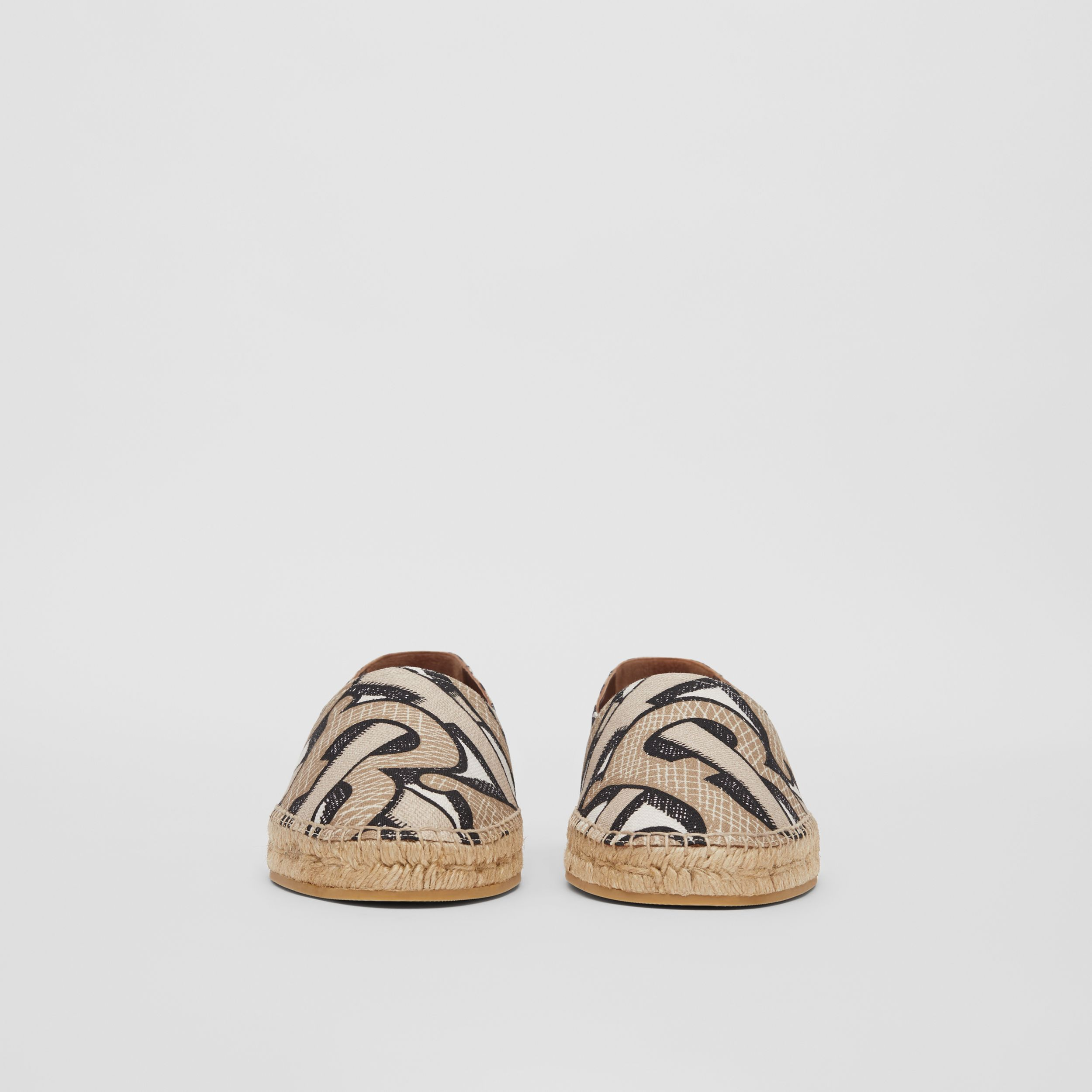 Monogram Print Cotton Canvas Espadrilles in Dark Beige | Burberry - 4