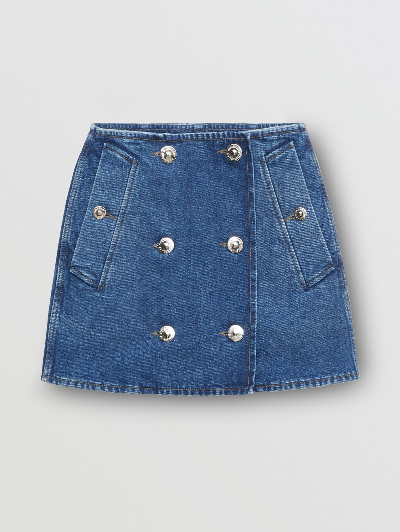 Washed Denim Trench Mini Skirt in Indigo