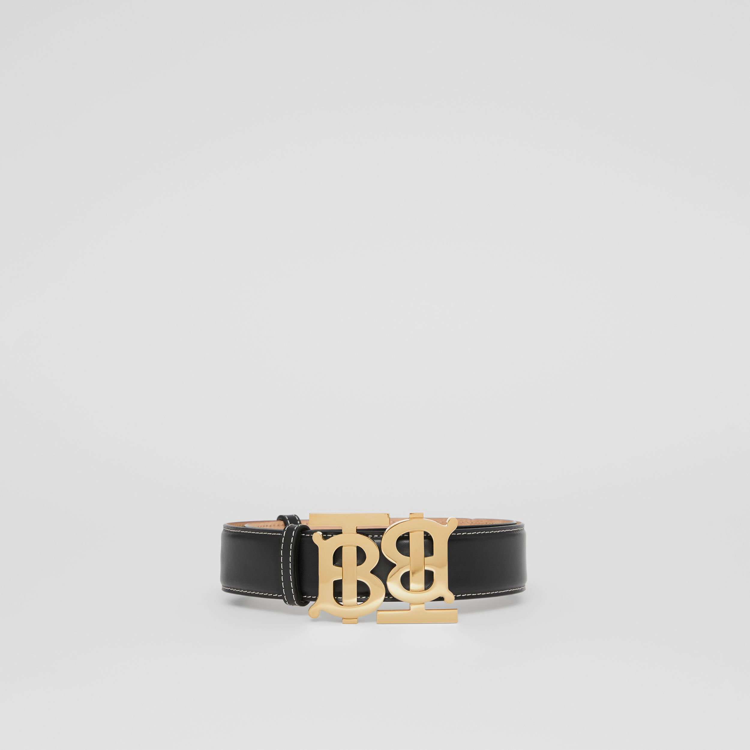 Double Monogram Motif Leather Belt in Black - Women | Burberry - 4