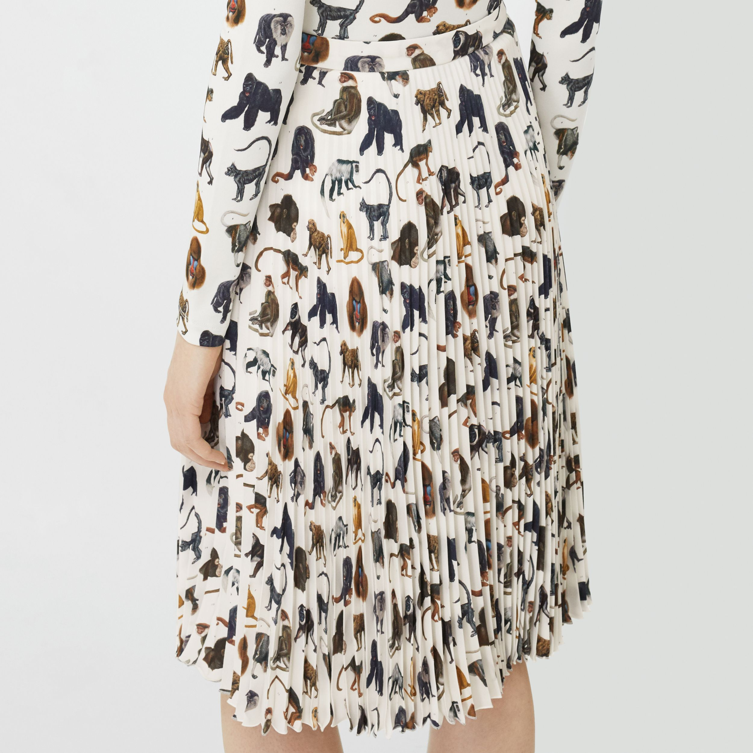 Monkey Print Crepe De Chine Pleated Skirt in White - Women | Burberry - 3