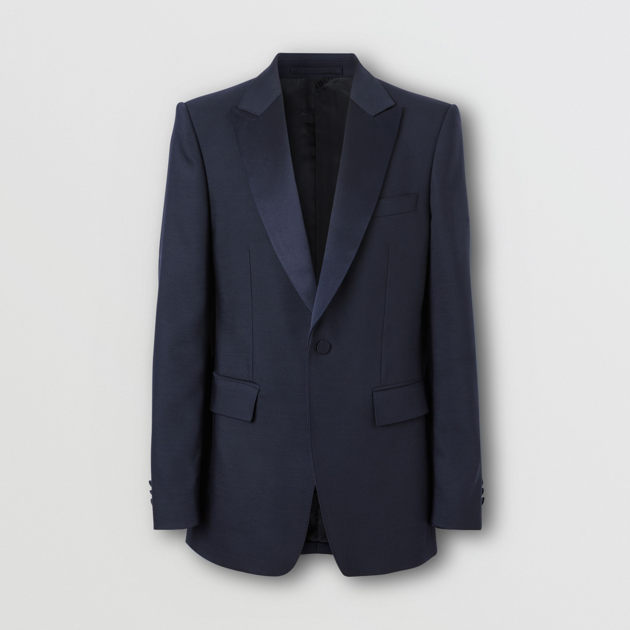 English Fit Wool Silk Blend Tailored Jacket in Navy Black - Men | Burberry - 4