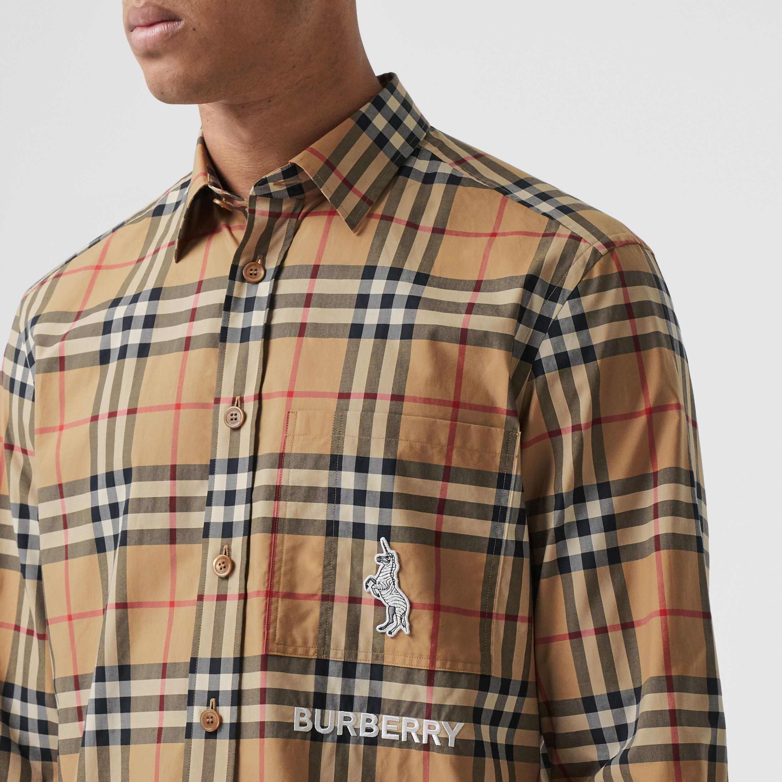 Classic Fit Zebra Appliqué Check Cotton Shirt in Archive Beige - Men | Burberry - 2