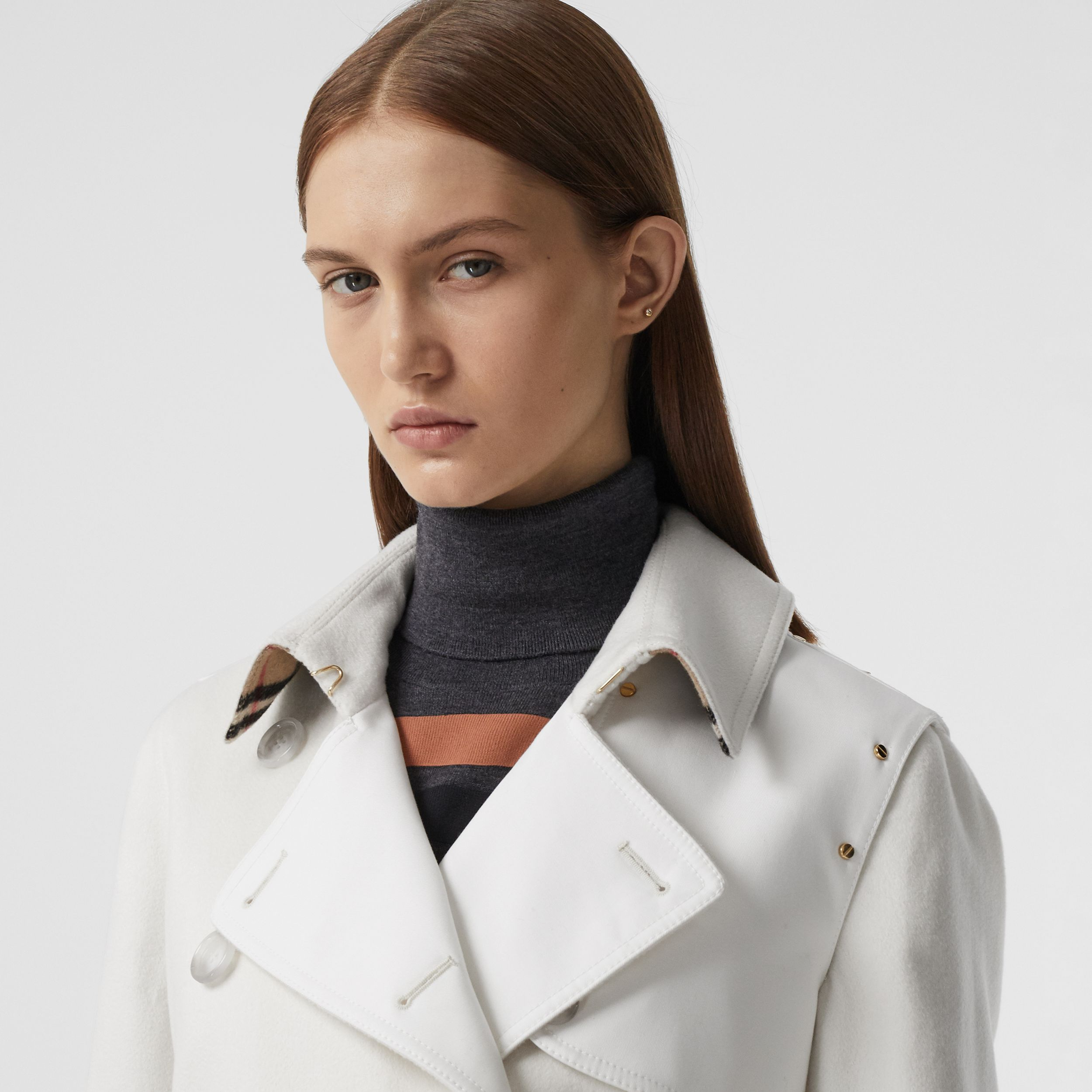 Cotton Gabardine Panel Cashmere Trench Coat in Natural White - Women | Burberry Australia - 2