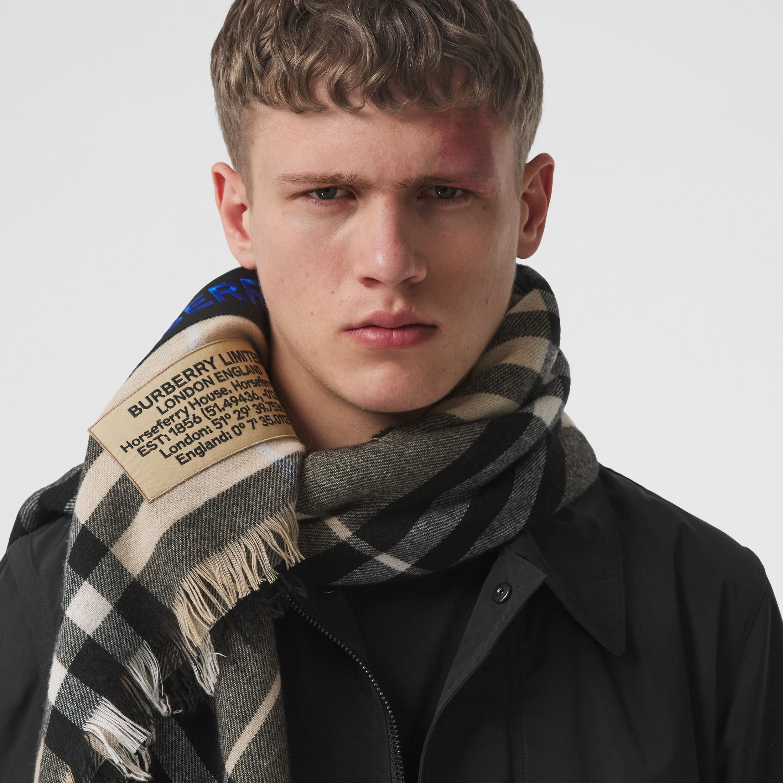 Logo Graphic Check Cashmere Large Square Scarf in Dusty Sand | Burberry - 4