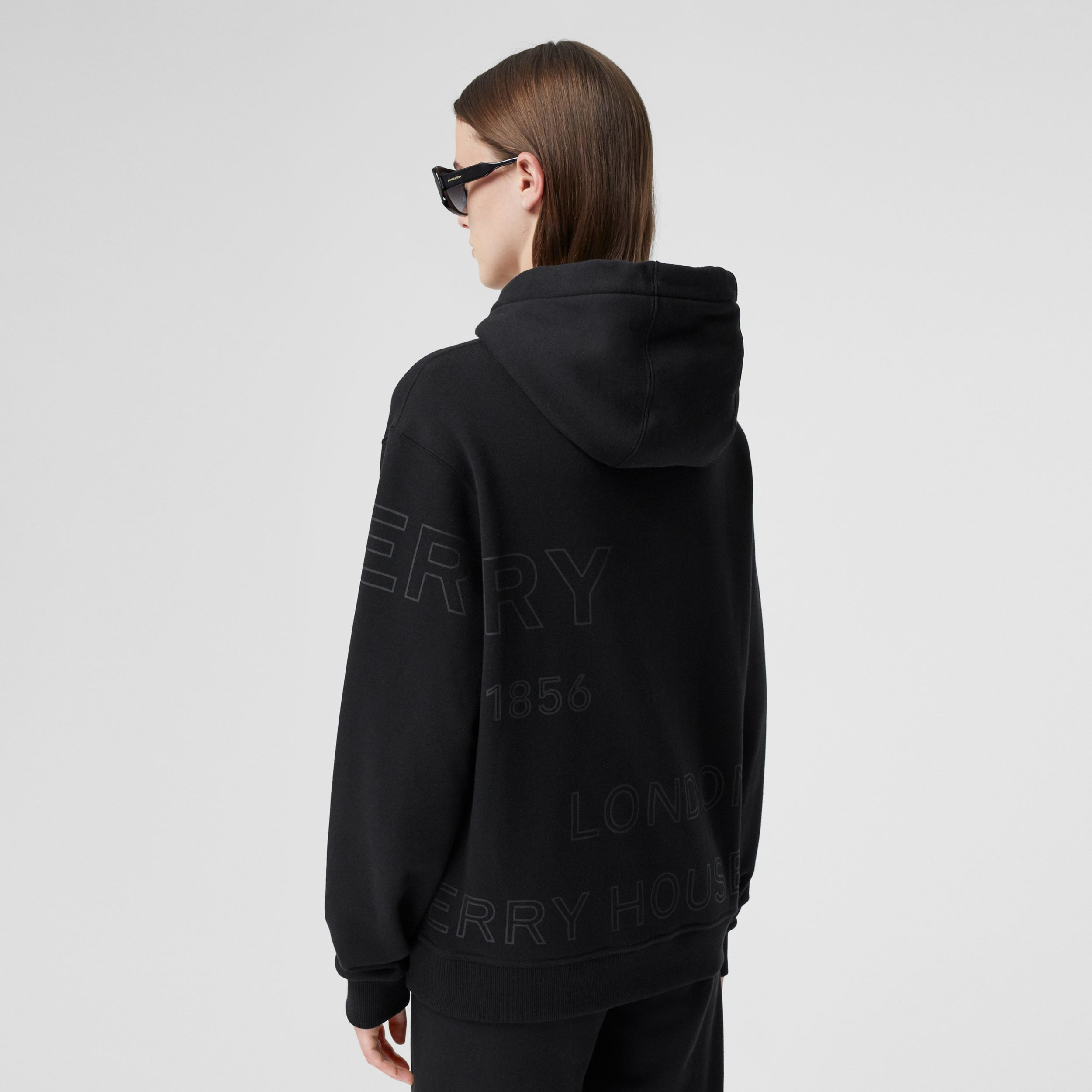 Horseferry Print Cotton Oversized Hoodie in Black - Women | Burberry Singapore - 3