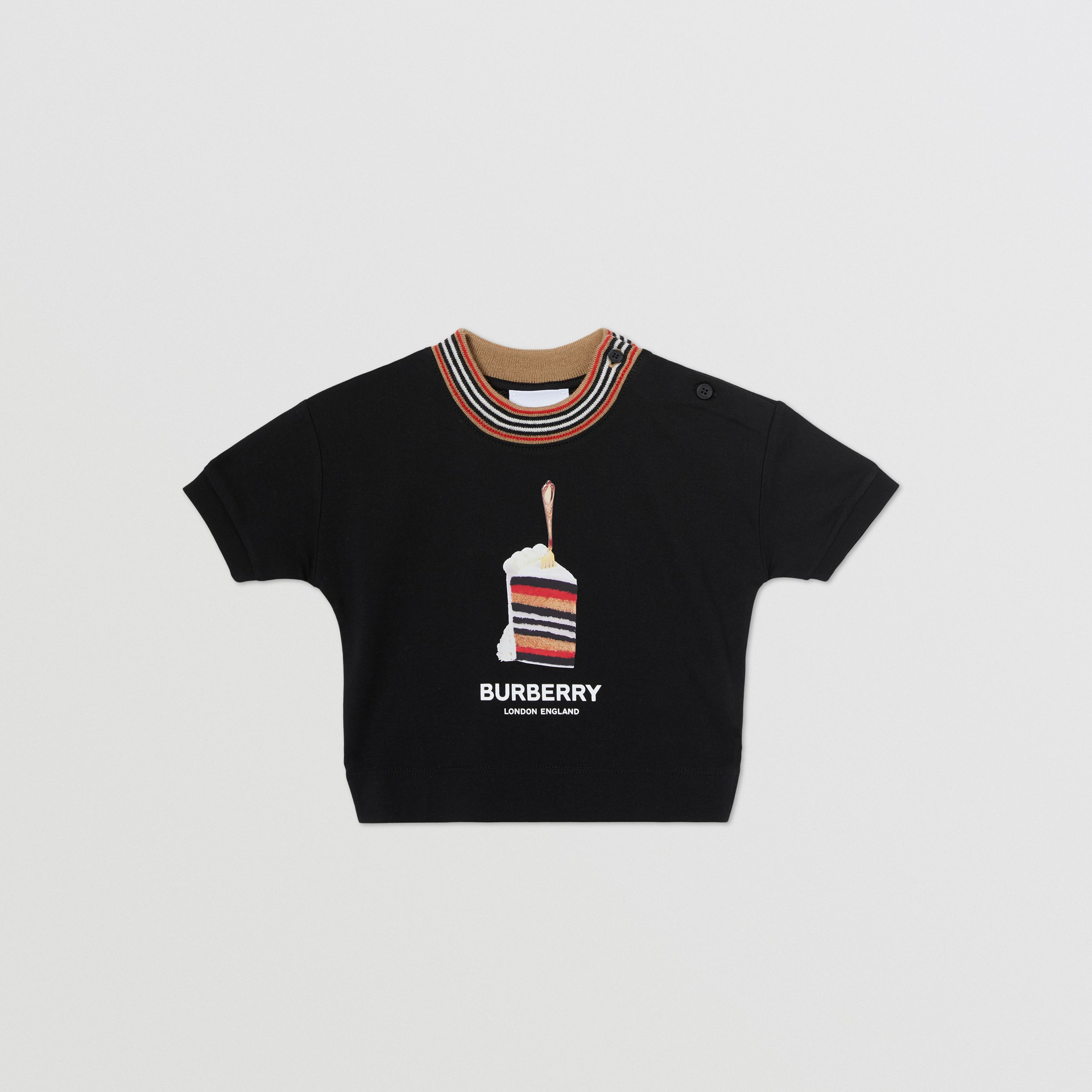 Cake Print Cotton T-shirt in Black - Children | Burberry - 1