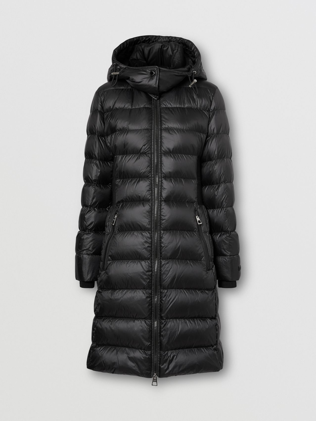 Detachable Hood Rib Knit Panel ECONYL® Puffer Coat in Black