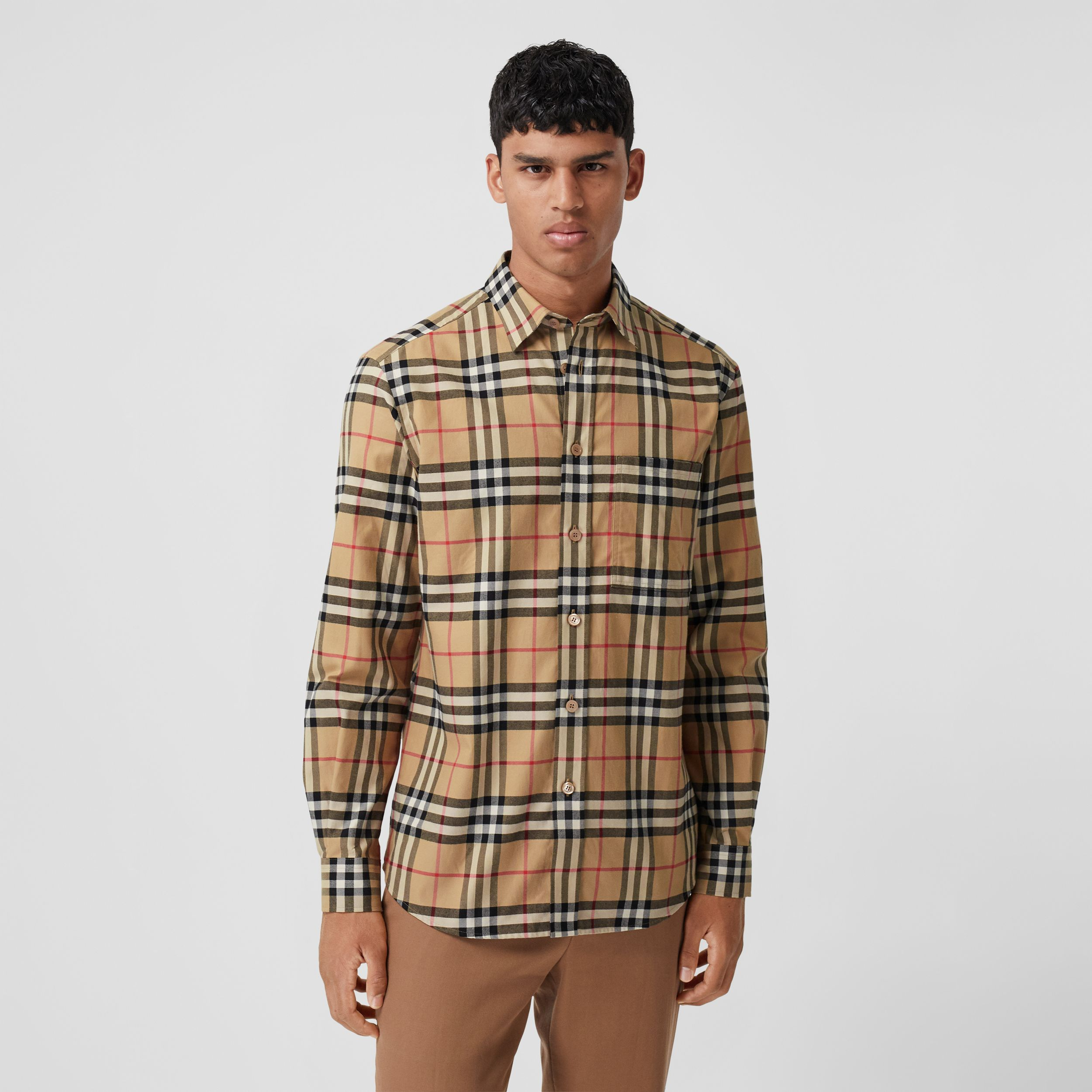 Vintage Check Cotton Flannel Shirt in Archive Beige - Men | Burberry - 1