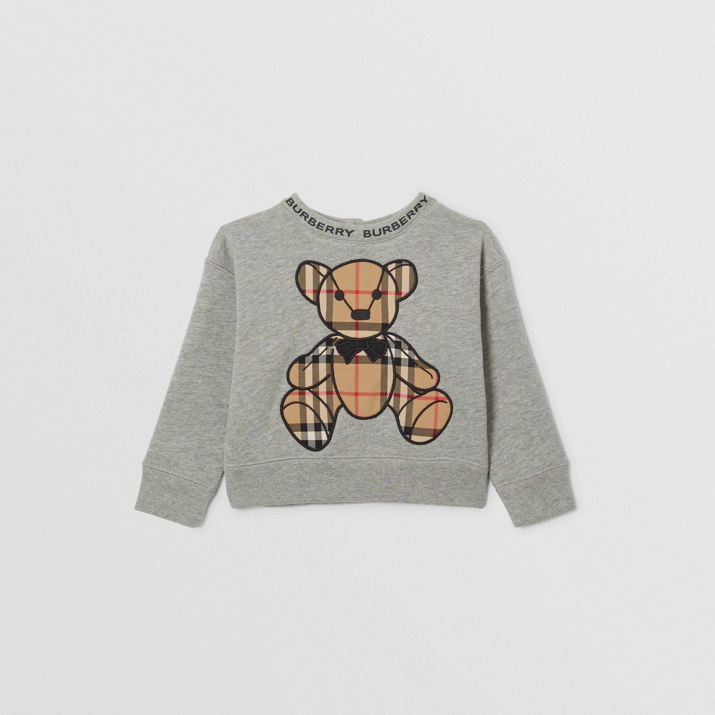 Thomas Bear Appliqué Cotton Sweatshirt in Grey Melange - Children | Burberry - 1