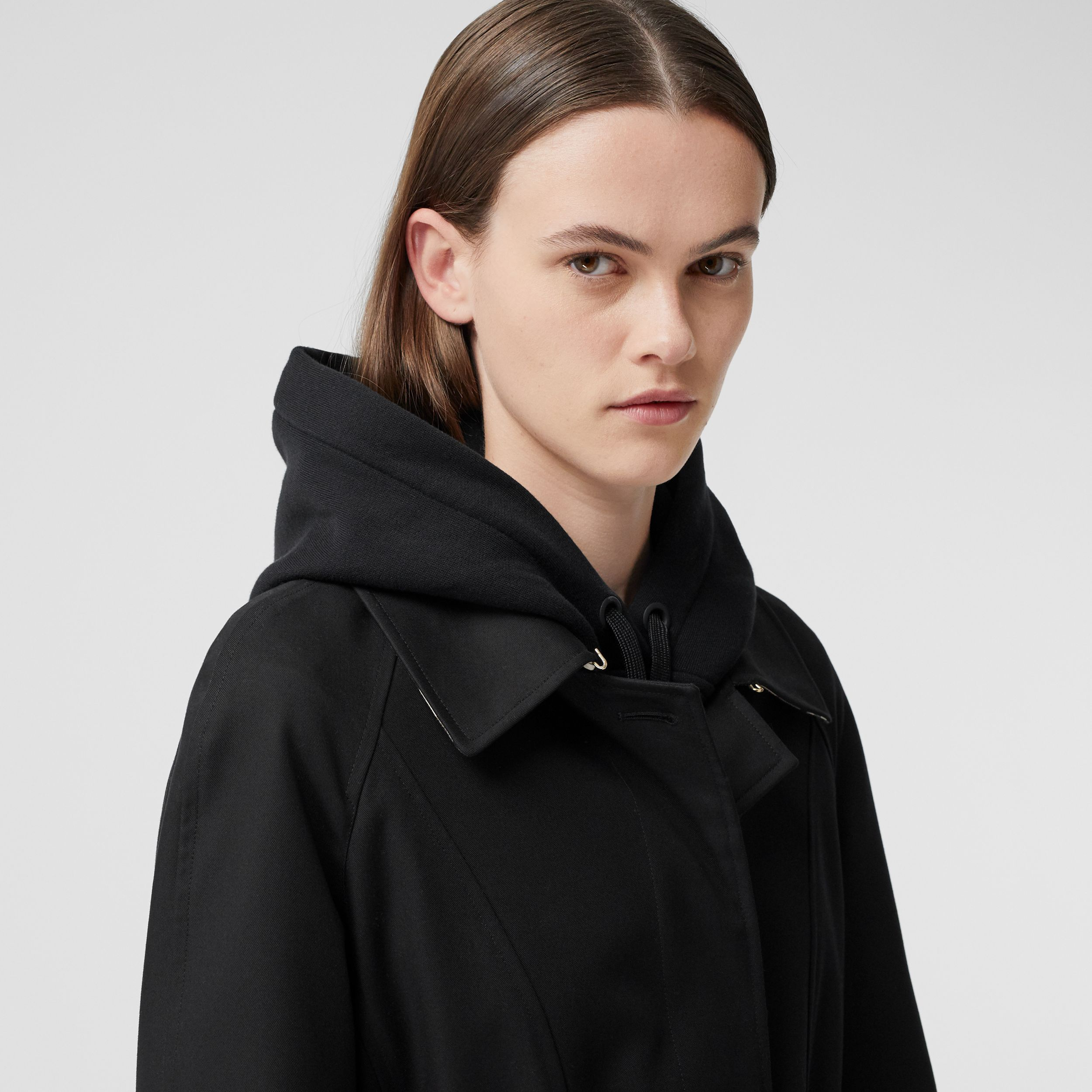 Cotton Gabardine Belted Swing Coat in Black - Women | Burberry United States - 2