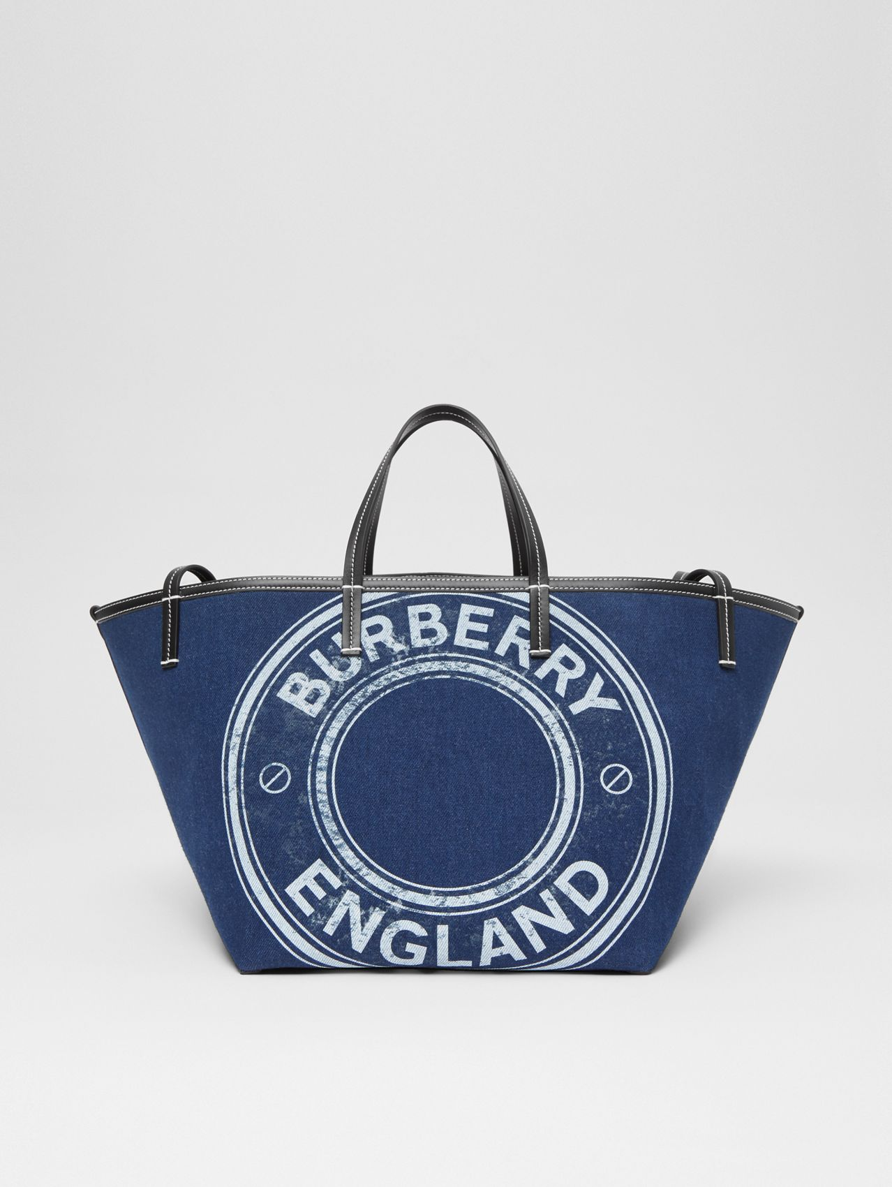 Mini Logo Graphic Denim Beach Tote in Dark Canvas Blue