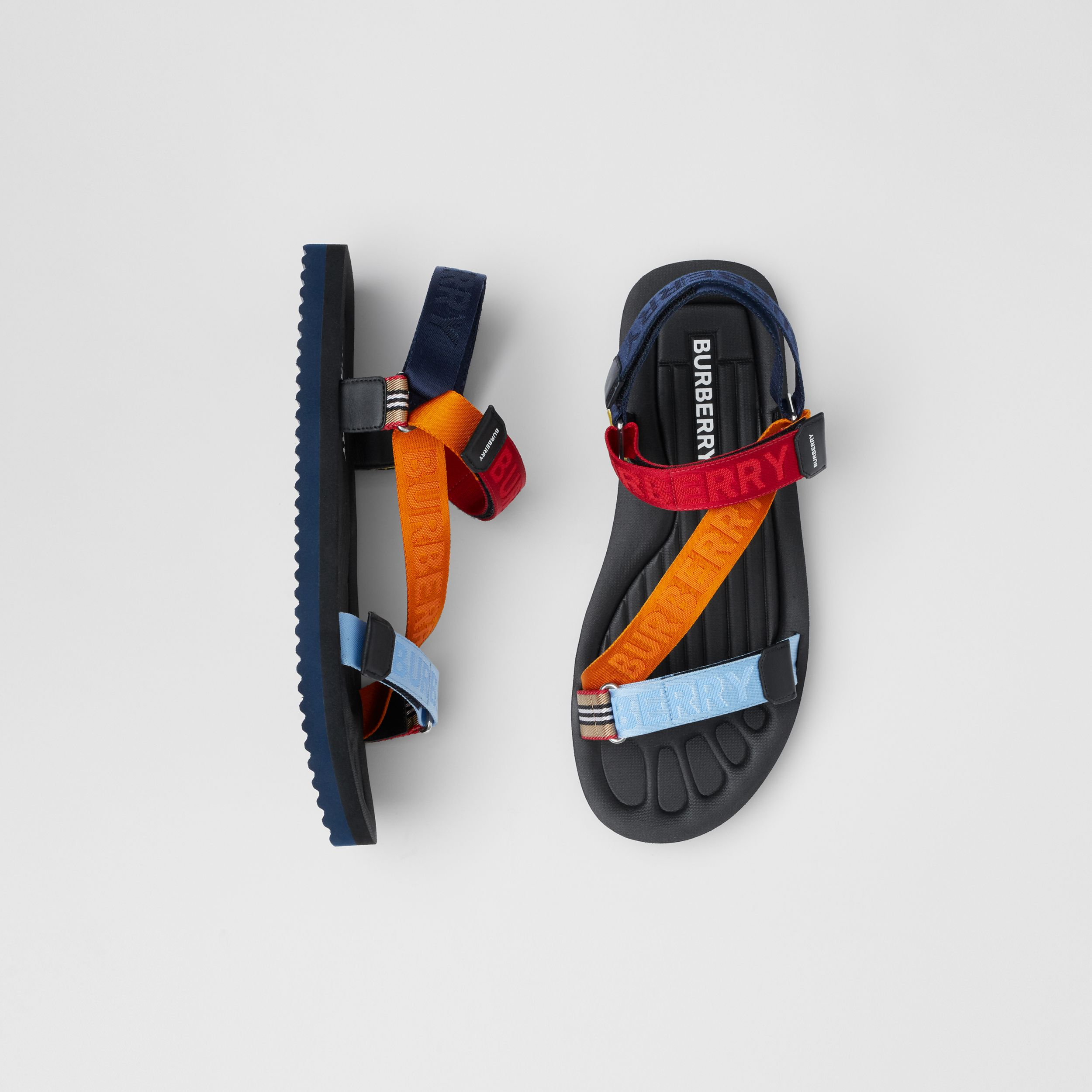Logo Jacquard Sandals in Bright Red/orange - Men | Burberry United Kingdom - 1