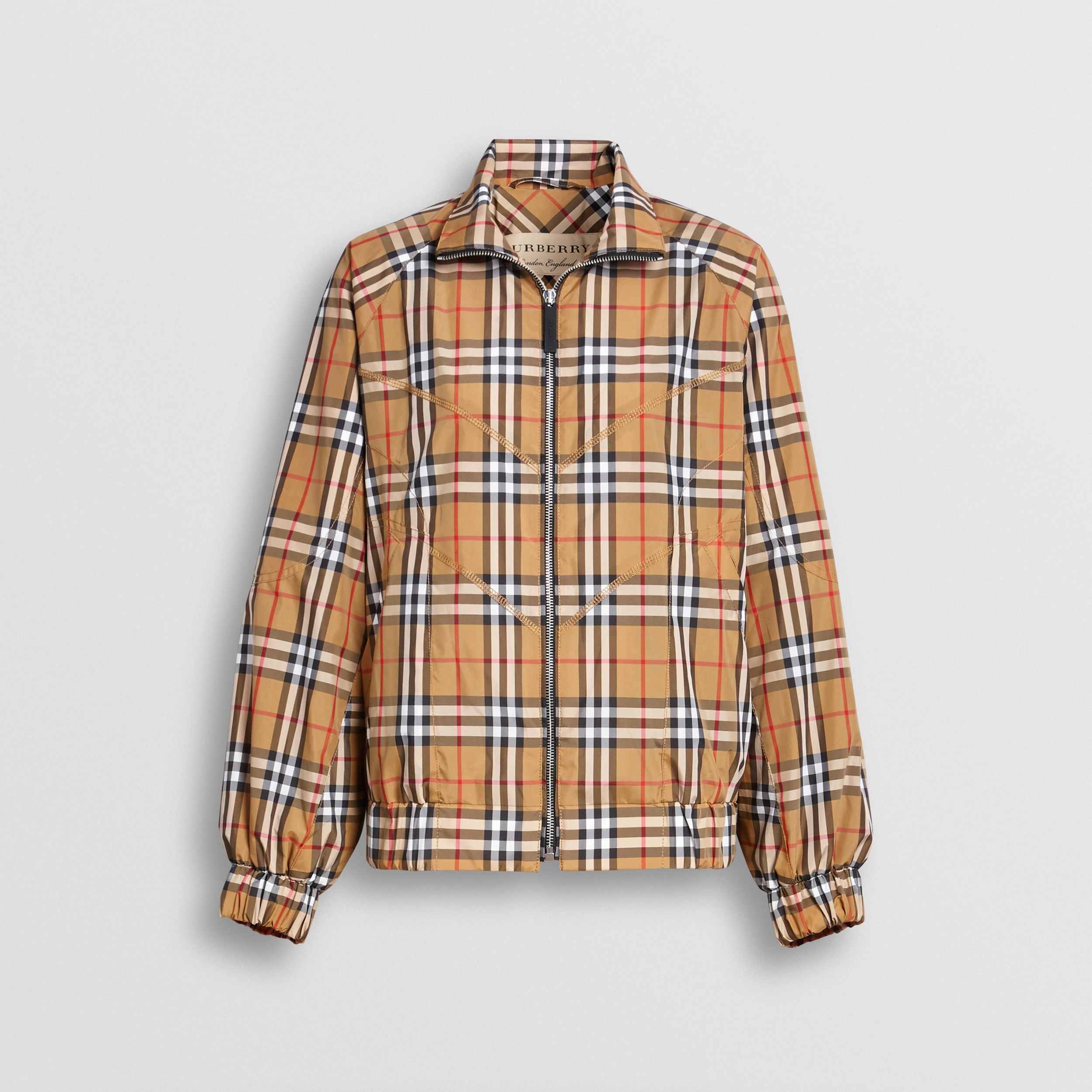 Topstitch Detail Vintage Check Harrington Jacket in Antique Yellow - Women | Burberry - 1