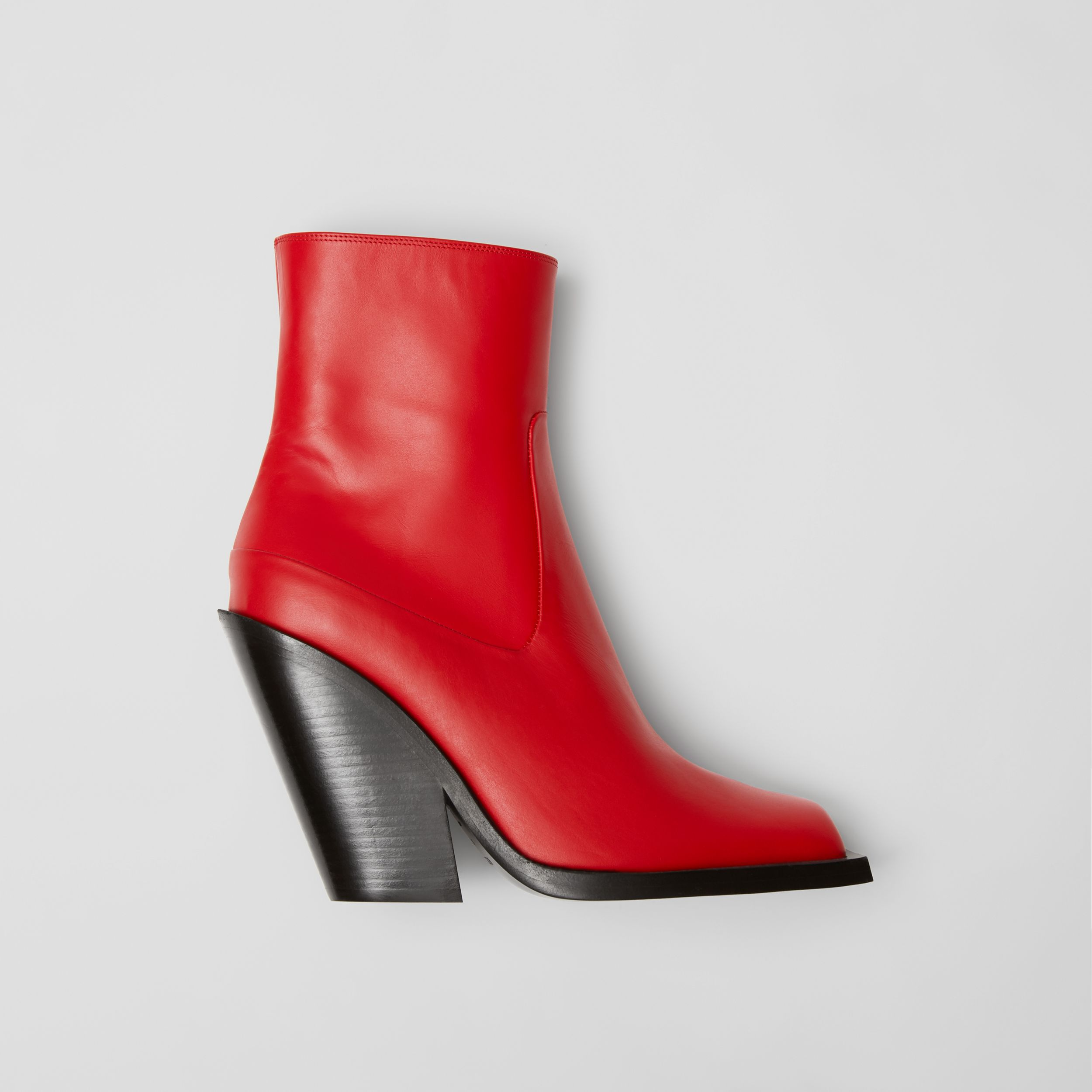 Leather Block-heel Ankle Boots in Bright Red - Women | Burberry - 1