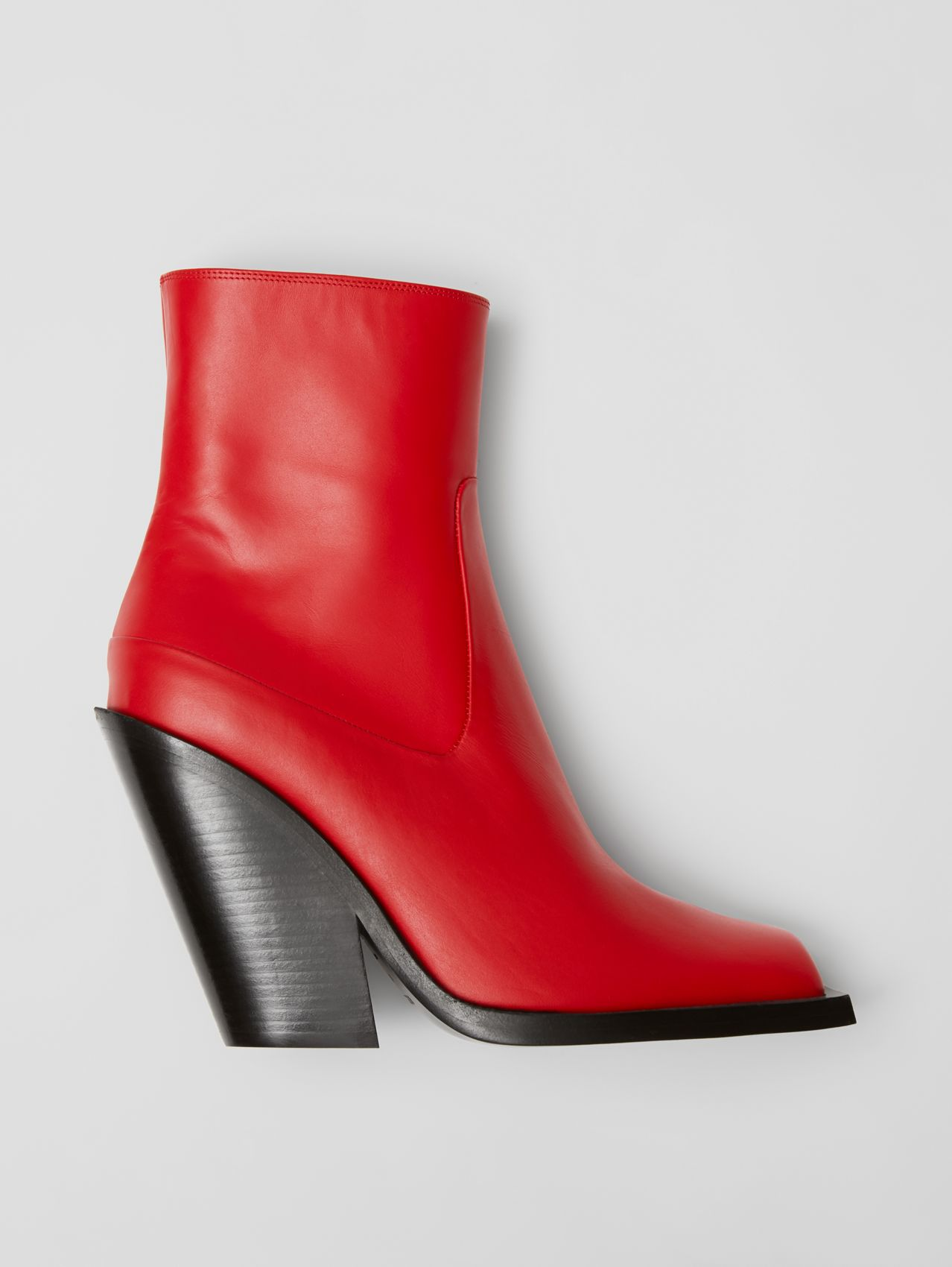 Leather Block-heel Ankle Boots in Bright Red