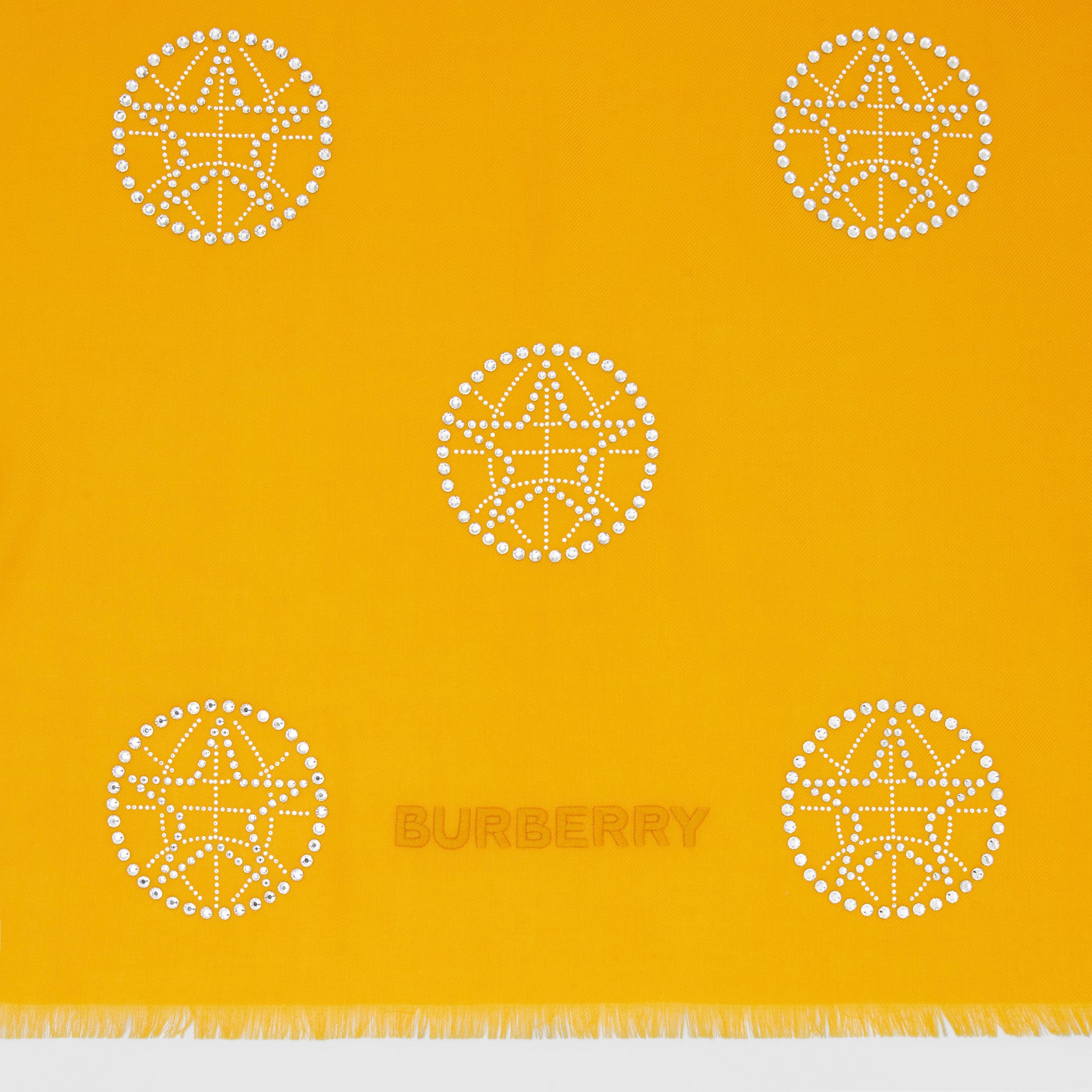 Crystal Globe Graphic Lightweight Cashmere Scarf in Citrus Orange | Burberry - 2