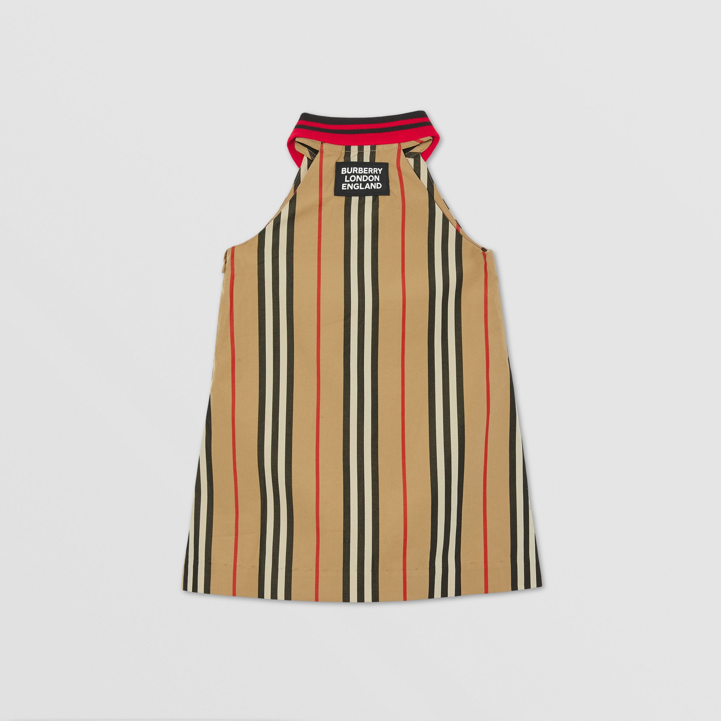 Icon Stripe Cotton Poplin Zip-front Dress in Archive Beige - Children | Burberry United Kingdom - 4