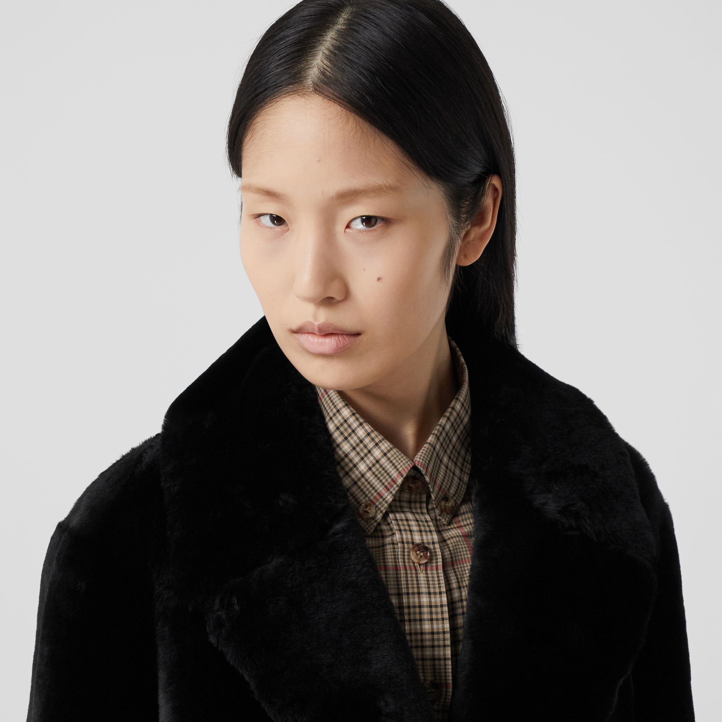 Lambskin Trim Shearling Tailored Coat in Black - Women | Burberry - 2