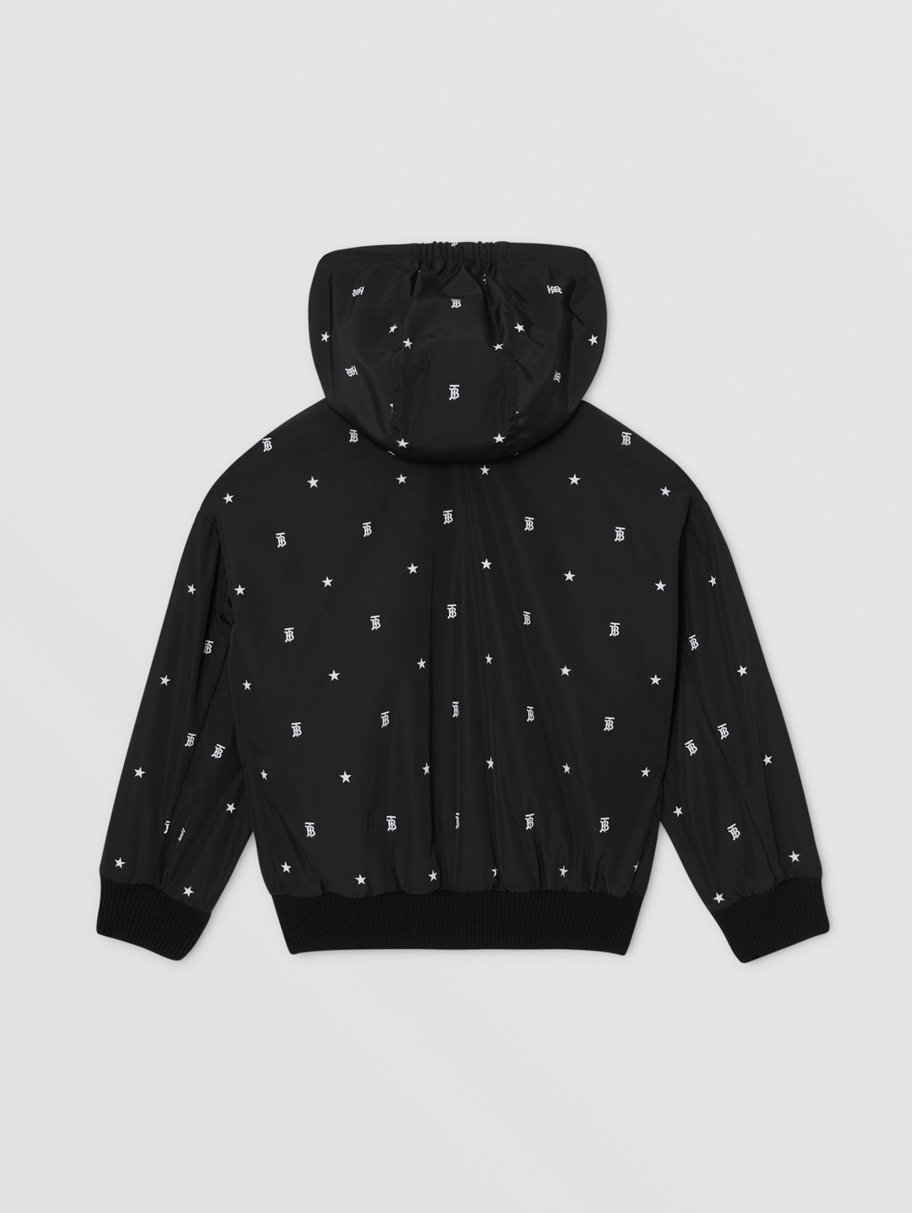 Star and Monogram Motif Lightweight Hooded Jacket in Black