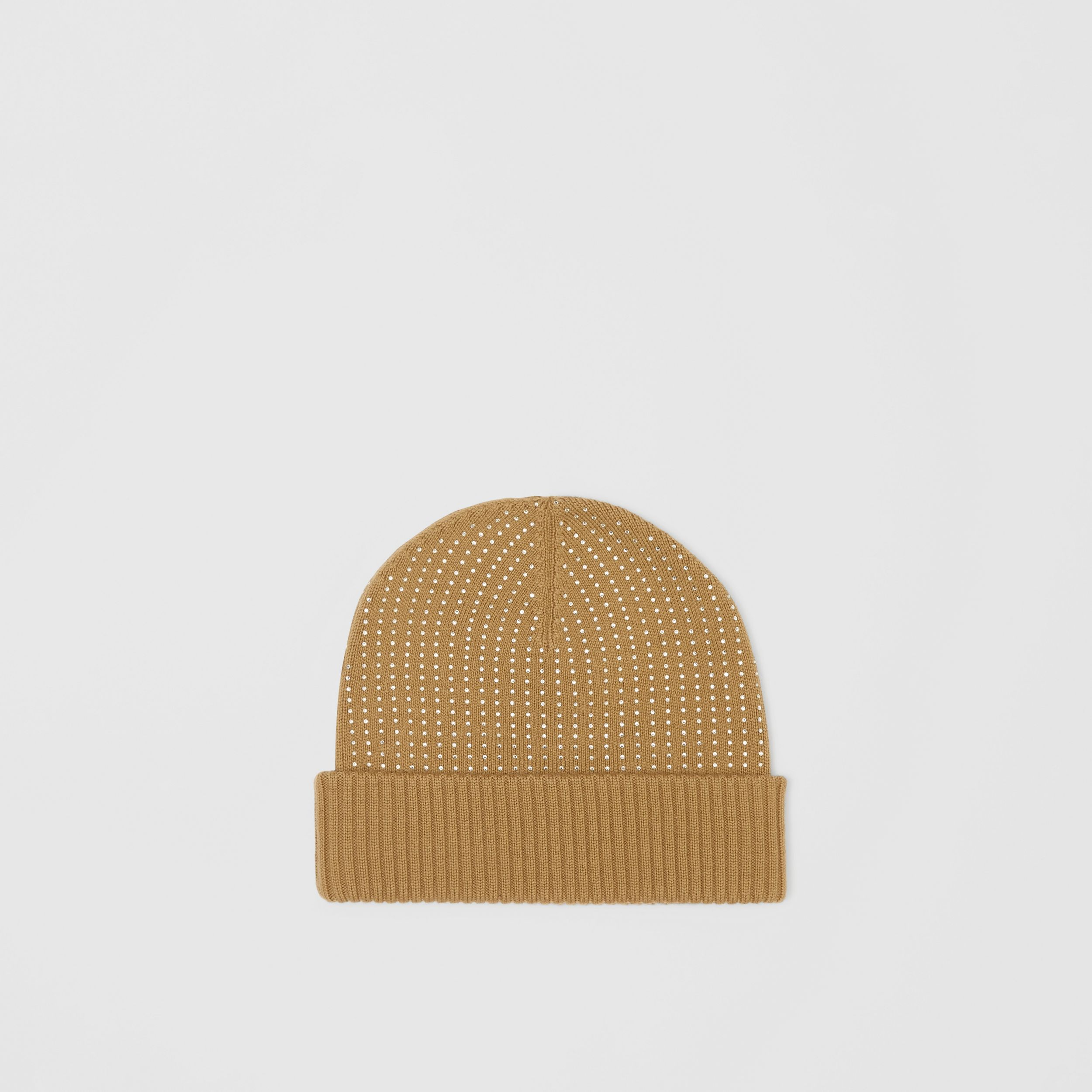 Crystal Pinstriped Merino Wool Beanie in Archive Beige | Burberry - 1