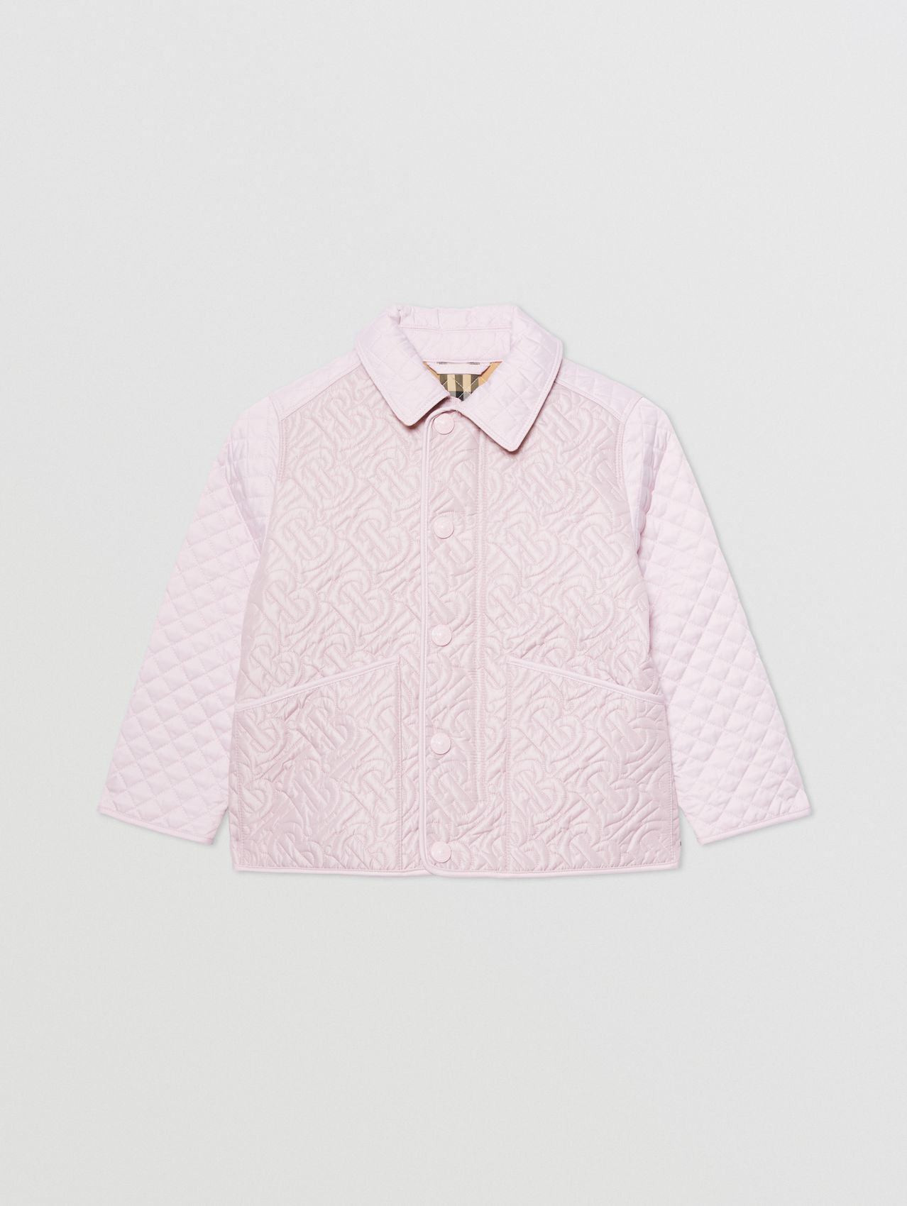 Monogram Quilted Panel Recycled Polyester Jacket in Pastel Pink