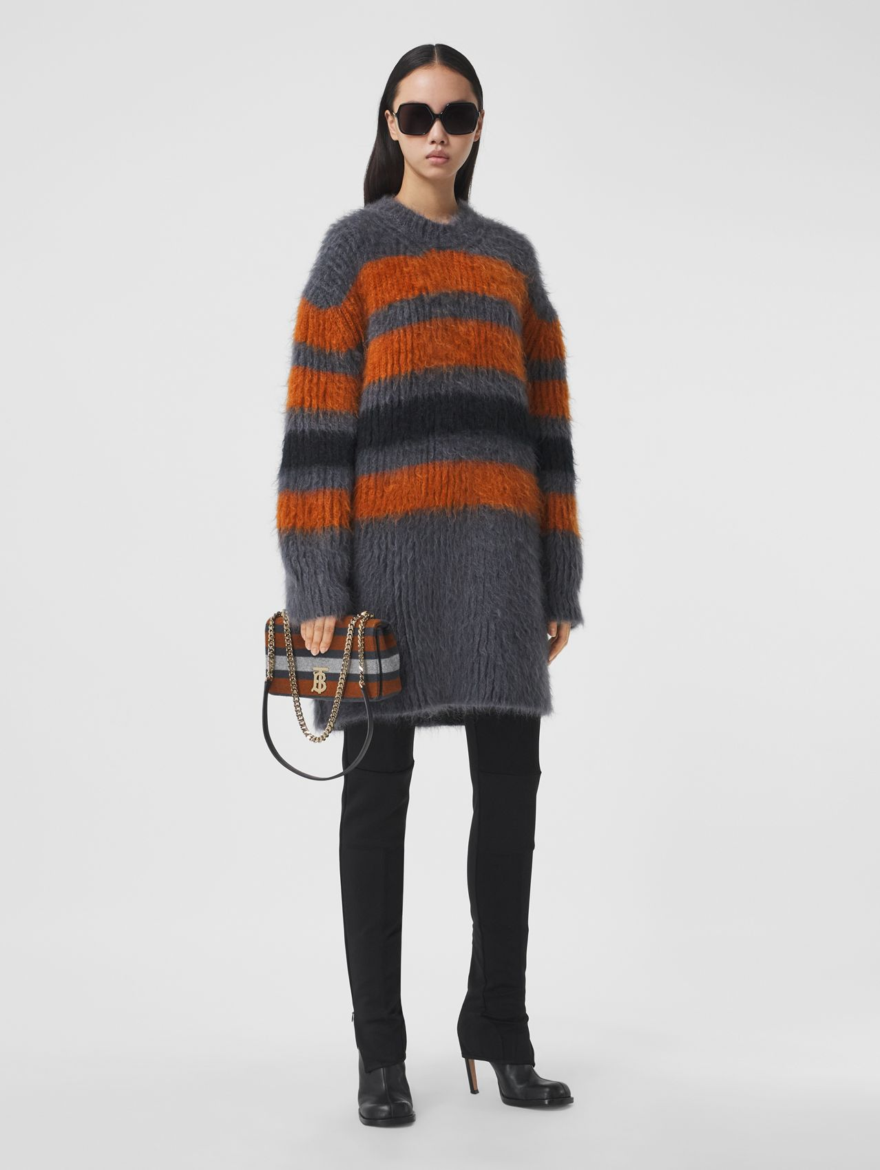 Stripe Intarsia Mohair Silk Oversized Sweater in Dark Grey Melange