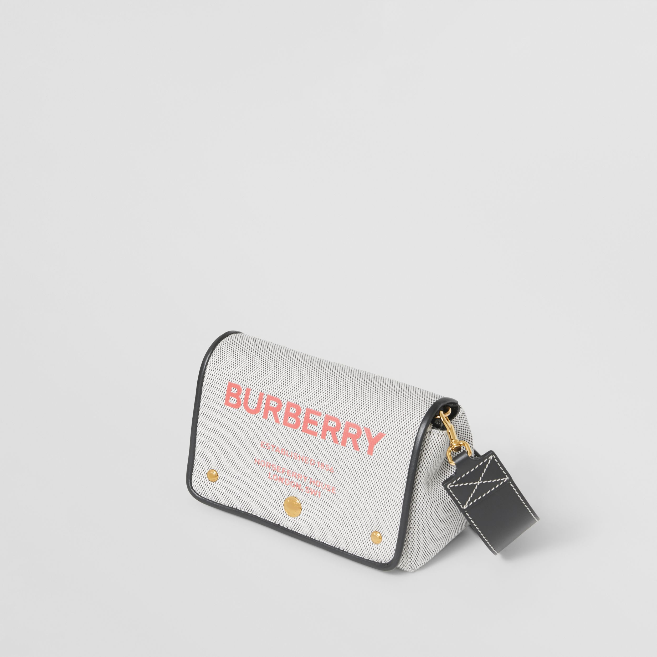 Small Horseferry Print Cotton Canvas Crossbody Bag in Black/red - Women | Burberry Australia - 4