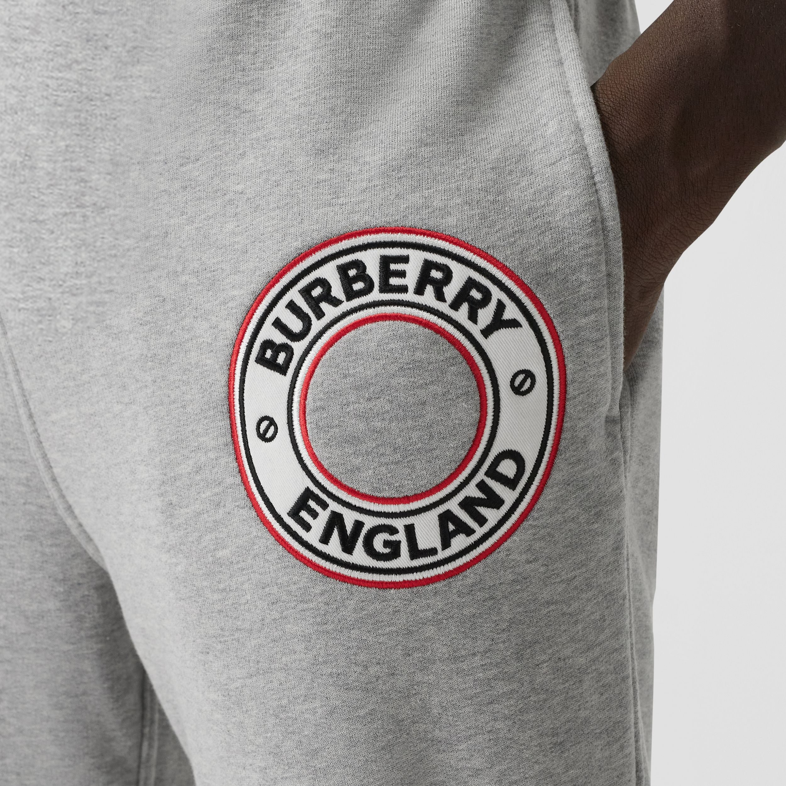 Logo Graphic Appliqué Cotton Jogging Pants in Pale Grey Melange - Men | Burberry - 2