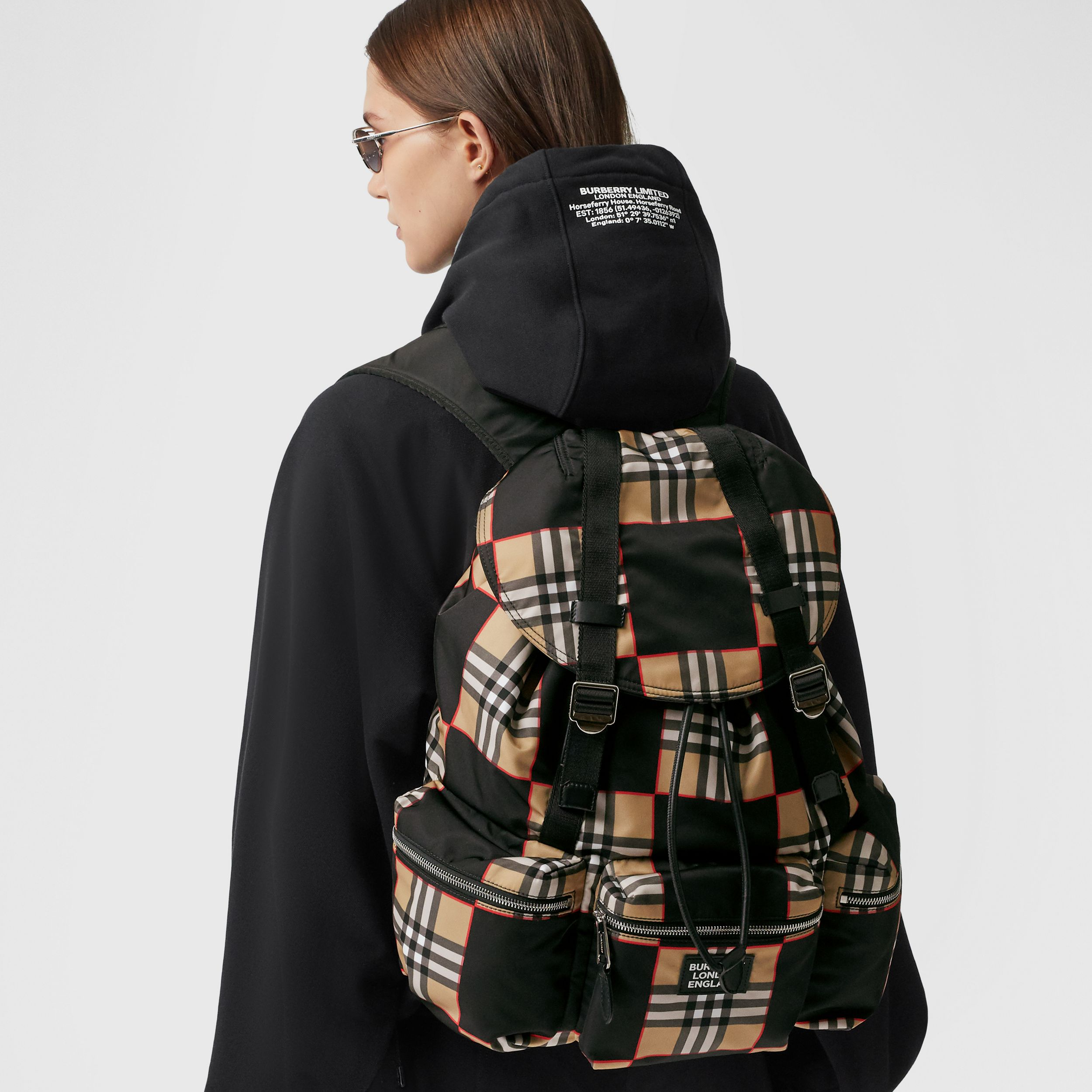 Logo Appliqué Chequer ECONYL® Backpack - Men | Burberry - 3