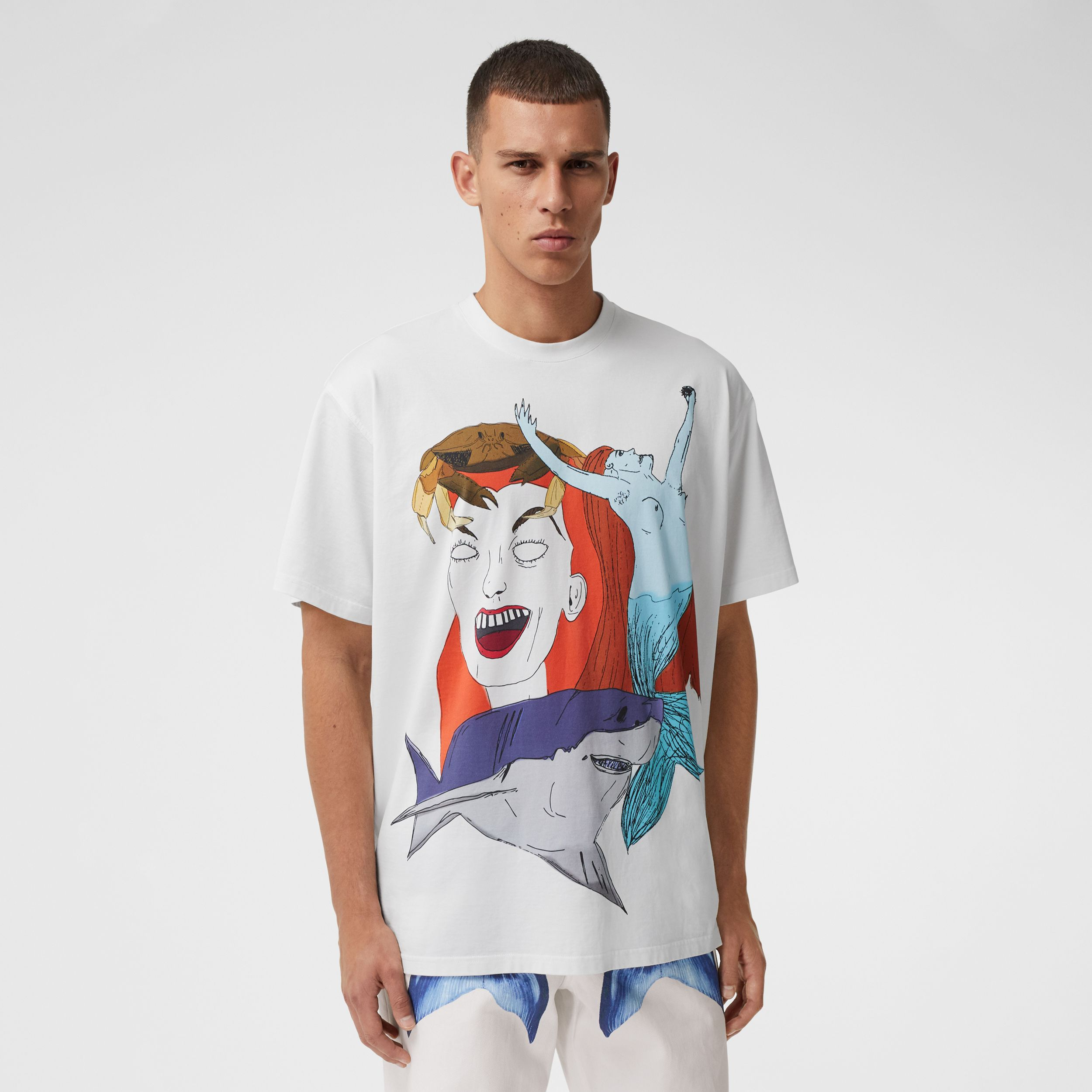 Sea Maiden Print Cotton Jersey T-shirt in White - Men | Burberry United Kingdom - 1