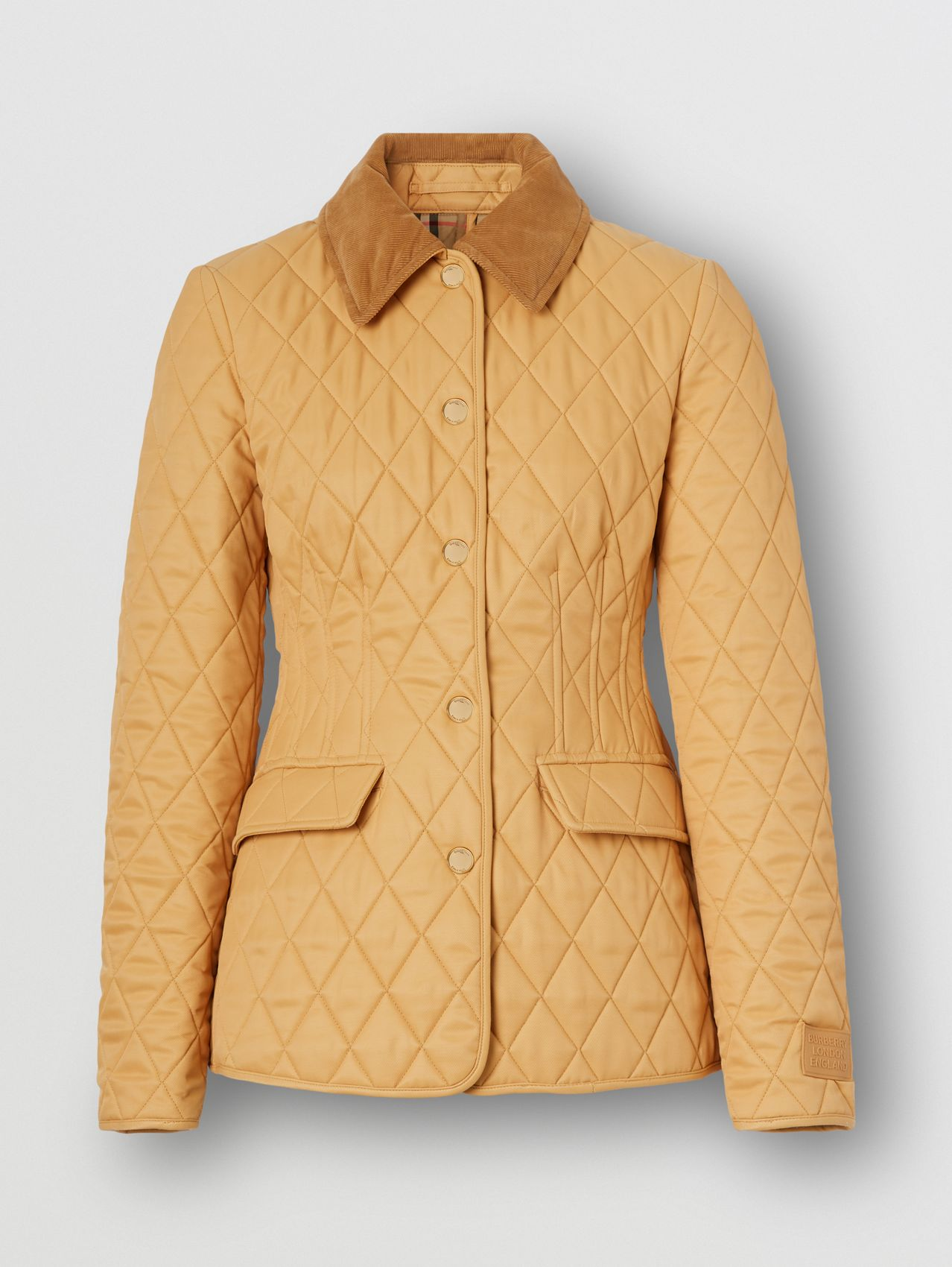 Corduroy Collar Diamond Quilted Barn Jacket in Light Chestnut
